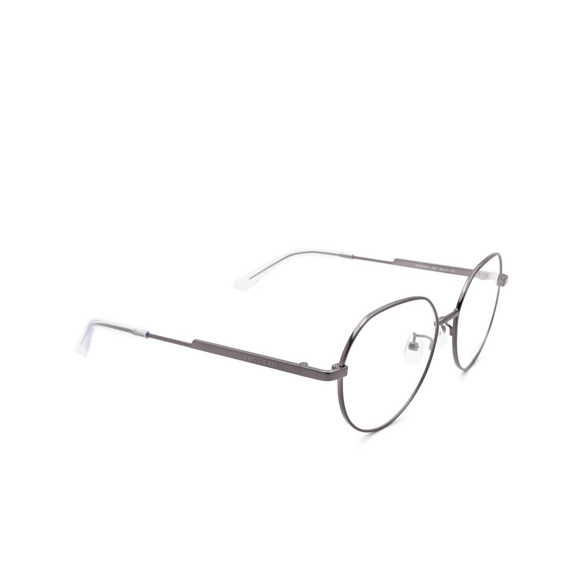 Bottega Veneta® Irregular Eyeglasses: BV1076OA color Ruthenium 004 - three-quarters view.