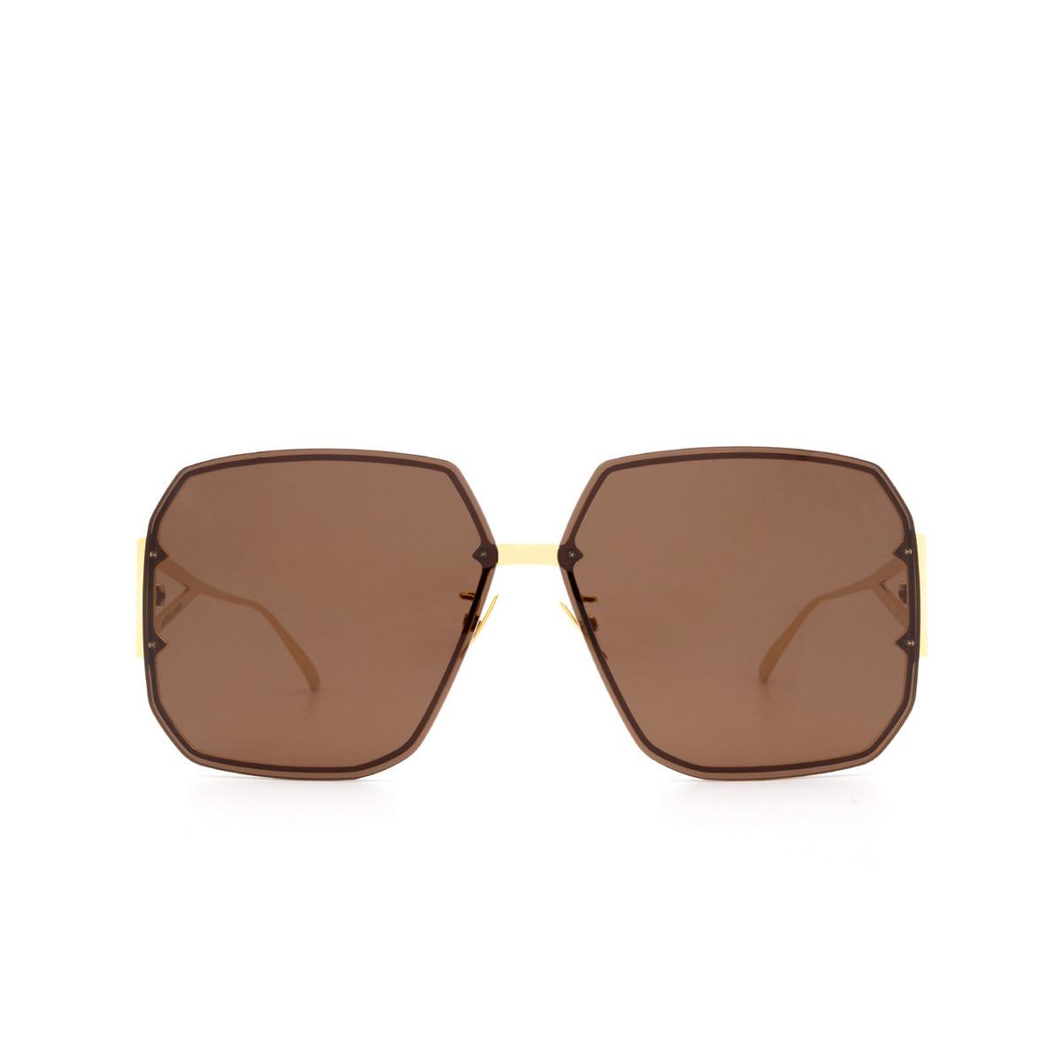 Bottega Veneta® Square Sunglasses: BV1085SA color Gold 002 - front view.