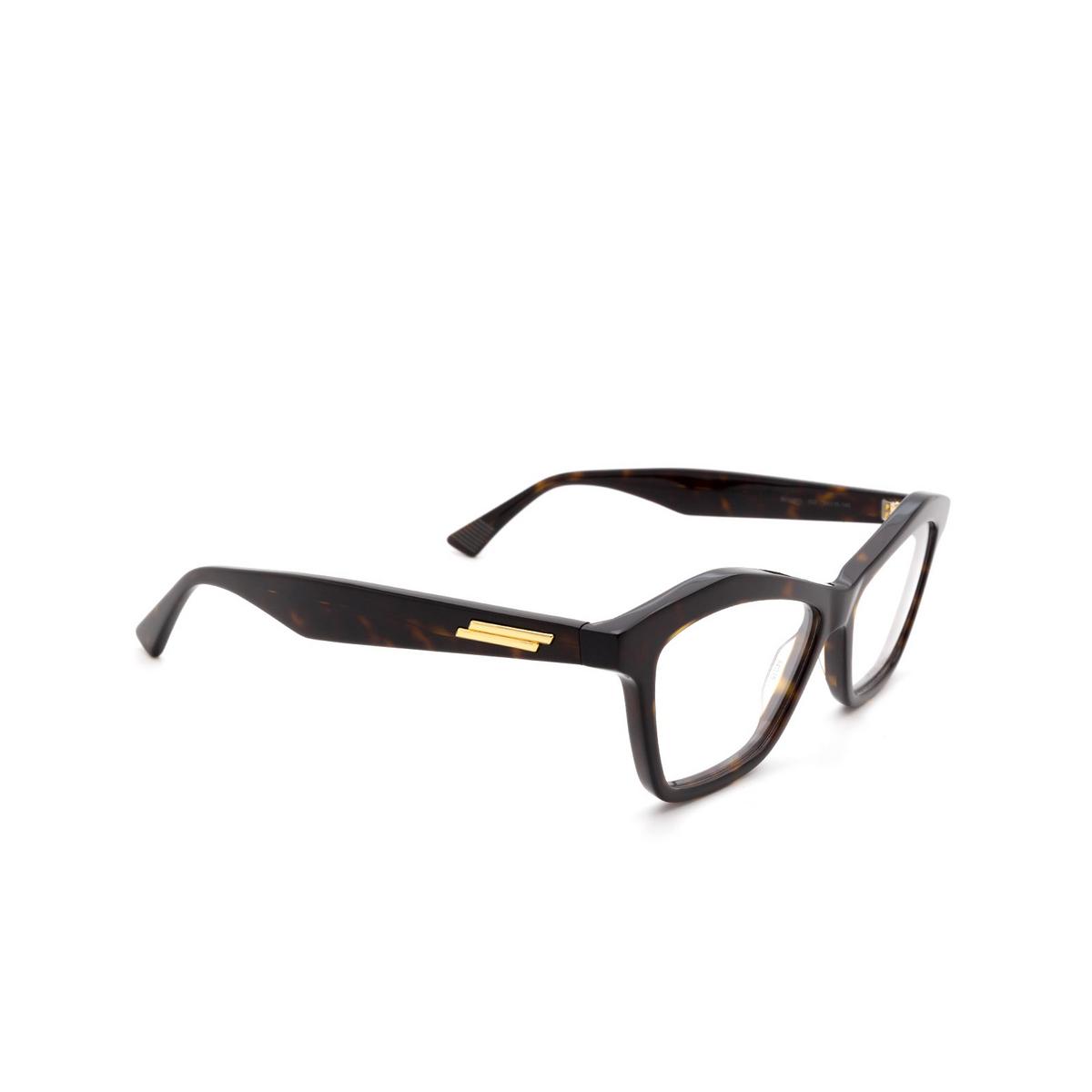 Bottega Veneta® Irregular Eyeglasses: BV1096O color Havana 002 - three-quarters view.