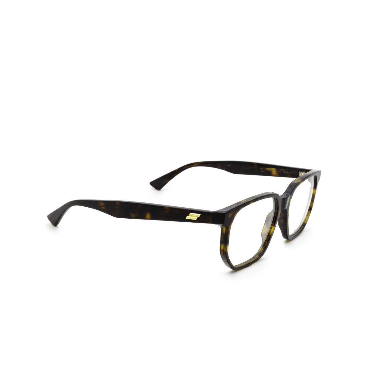 Bottega Veneta® Irregular Eyeglasses: BV1097O color Havana 002 - three-quarters view.