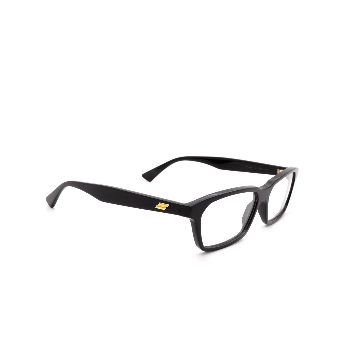 Bottega Veneta® Rectangle Eyeglasses: BV1098O color Black 001 - three-quarters view.