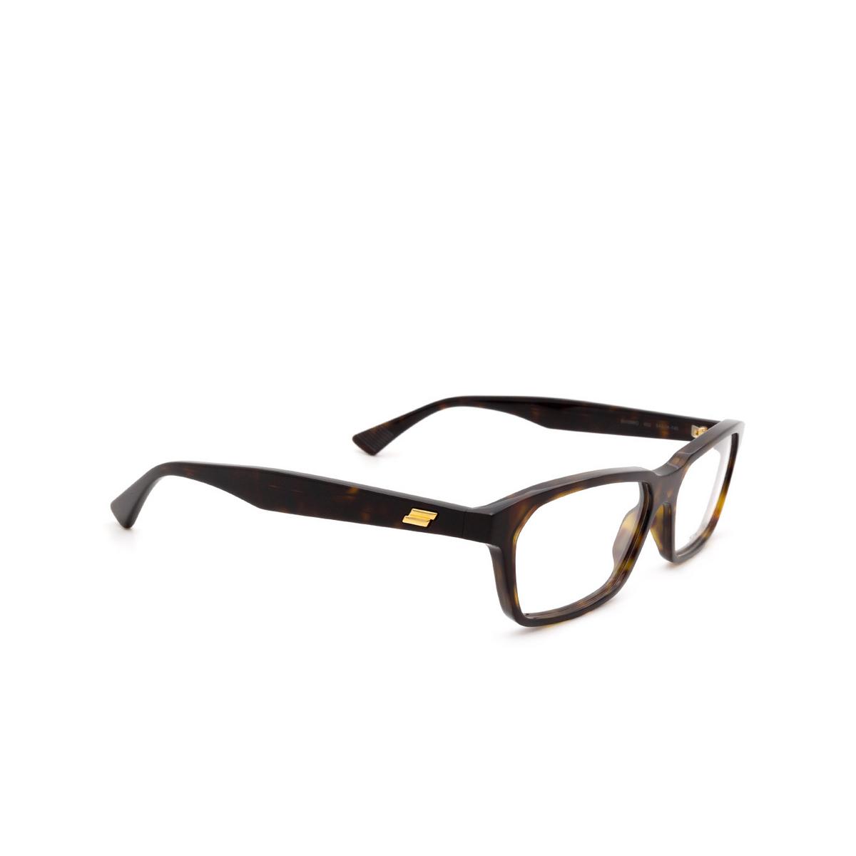 Bottega Veneta® Rectangle Eyeglasses: BV1098O color Havana 002 - three-quarters view.