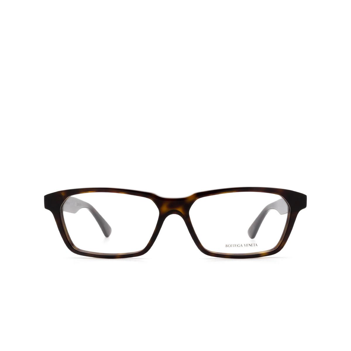 Bottega Veneta® Rectangle Eyeglasses: BV1098O color Havana 002 - front view.