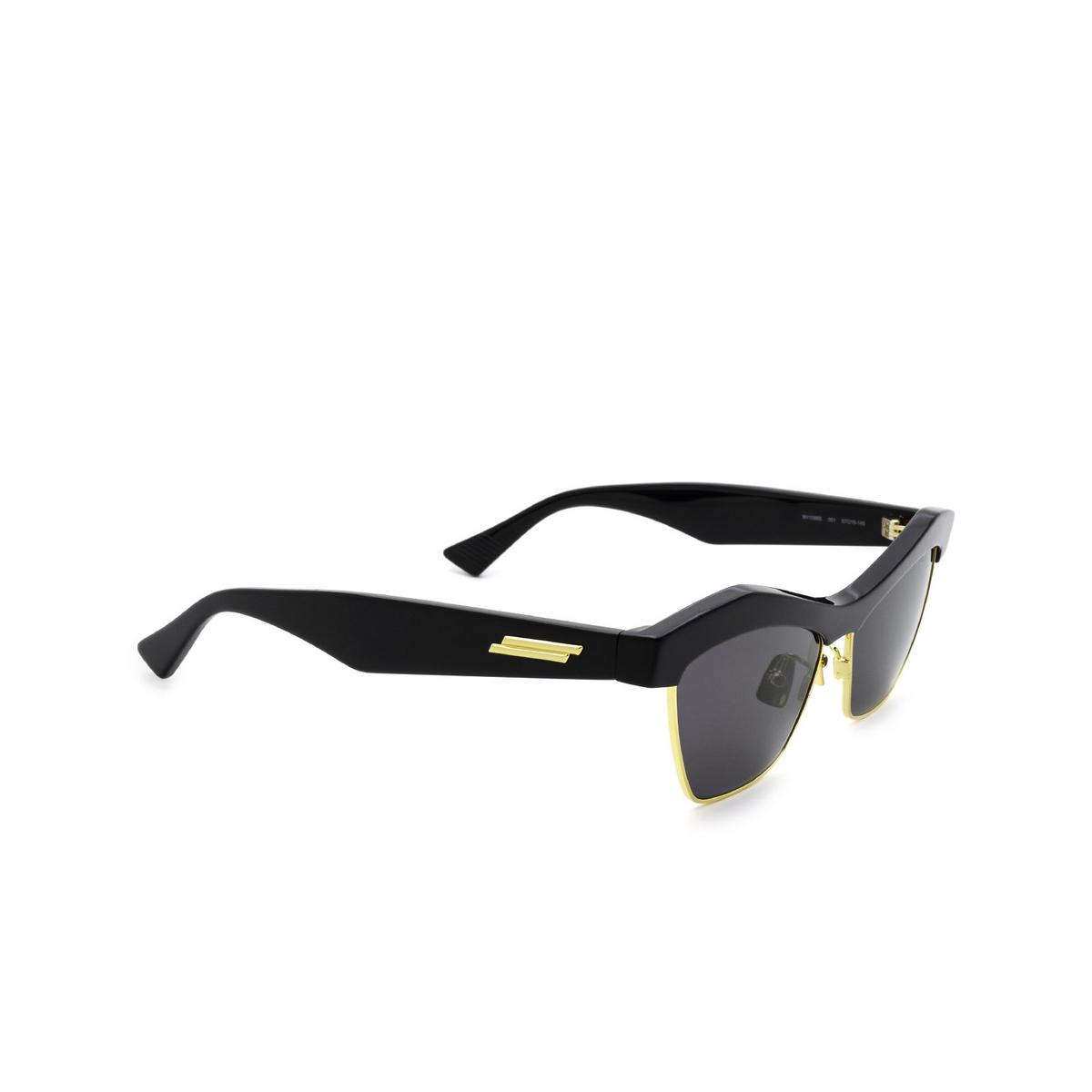 Bottega Veneta® Irregular Sunglasses: BV1099S color Black 001 - three-quarters view.