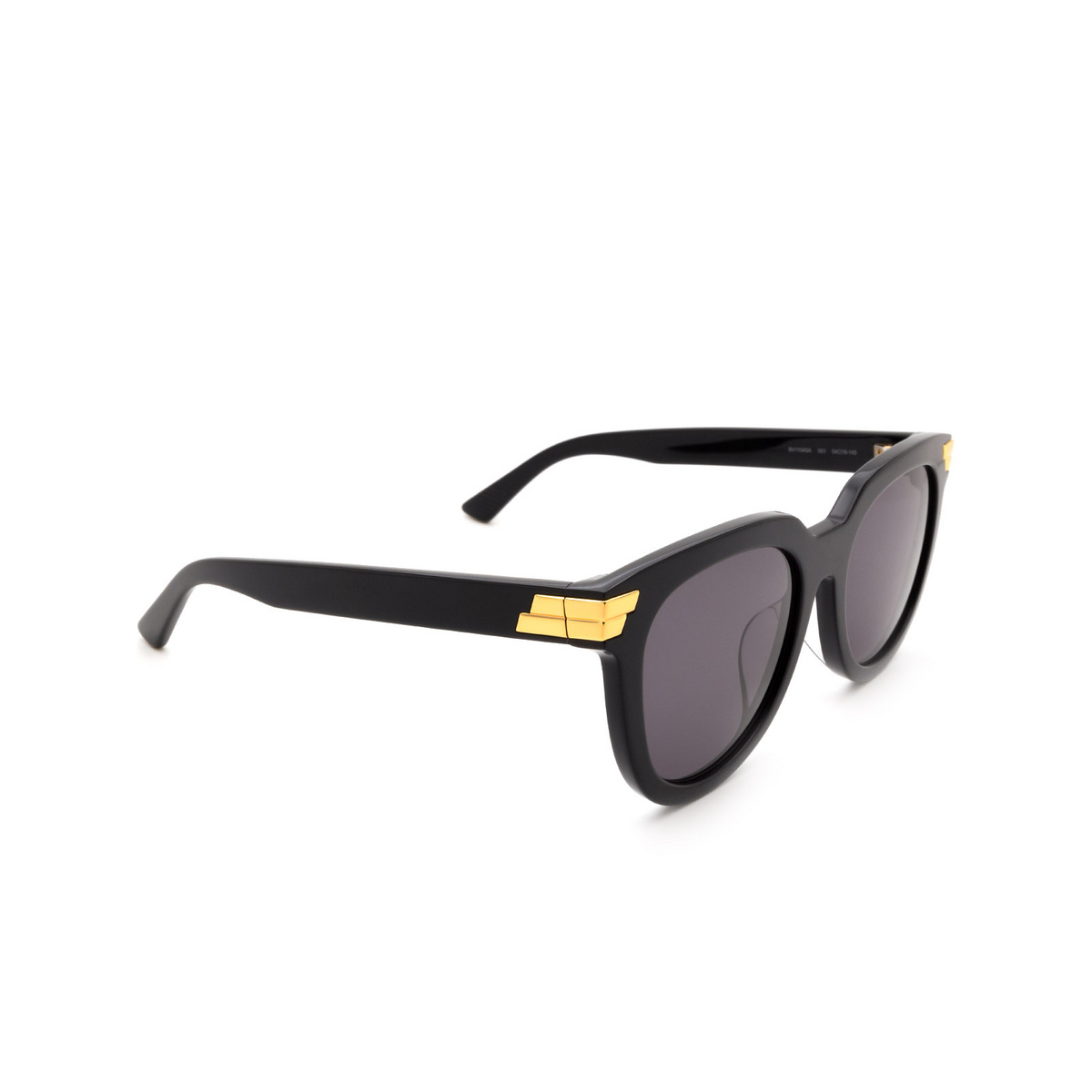 Bottega Veneta® Round Sunglasses: BV1104SA color Black 001 - three-quarters view.