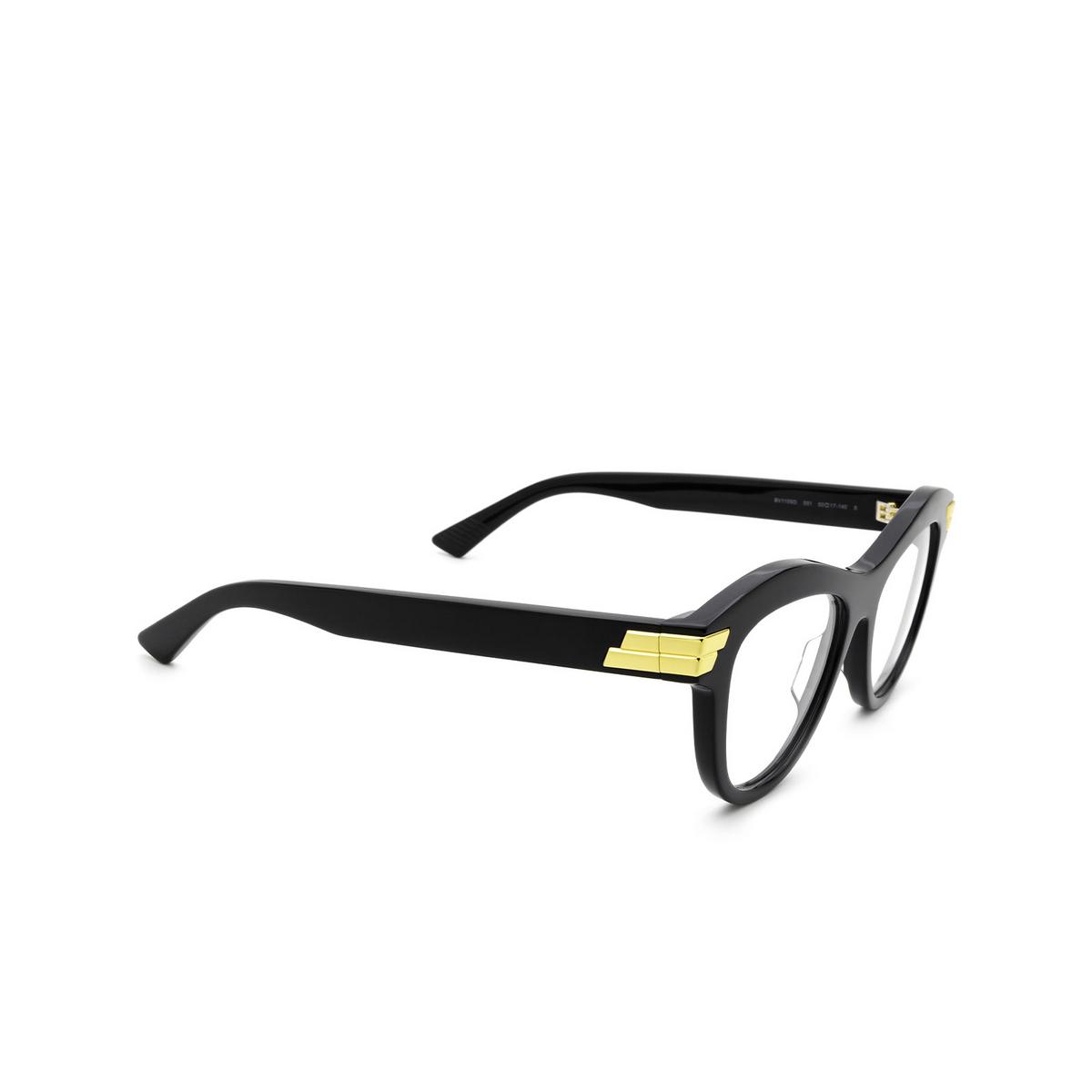 Bottega Veneta® Cat-eye Eyeglasses: BV1105O color Black 001 - three-quarters view.