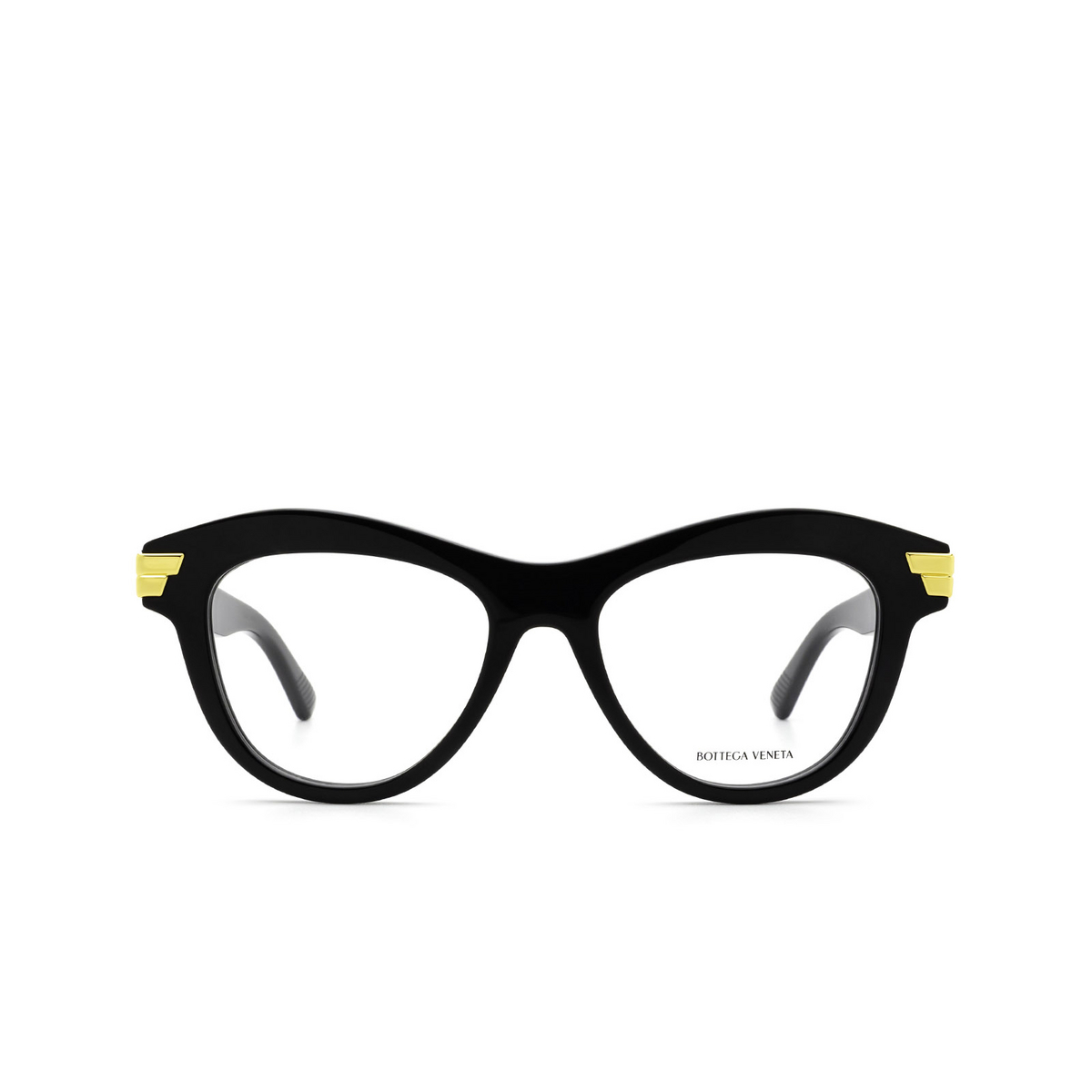 Bottega Veneta® Cat-eye Eyeglasses: BV1105O color Black 001 - front view.