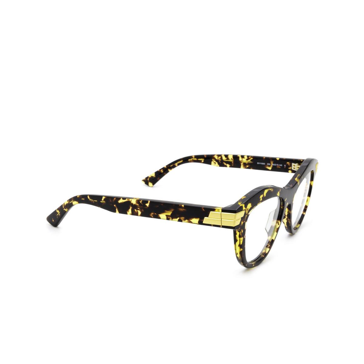 Bottega Veneta® Cat-eye Eyeglasses: BV1105O color Havana 002 - three-quarters view.