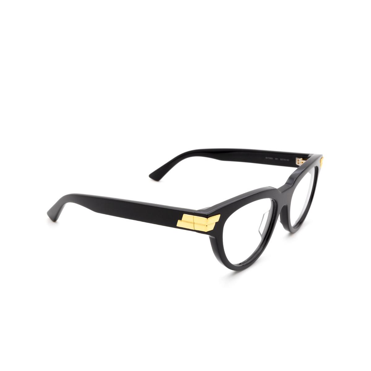 Bottega Veneta® Cat-eye Eyeglasses: BV1106O color Black 001 - three-quarters view.