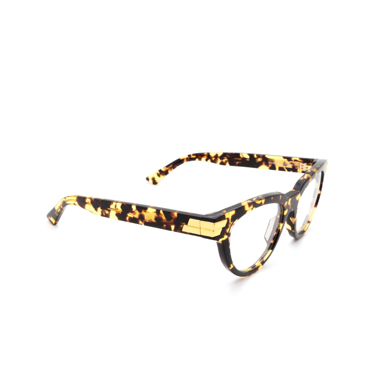 Bottega Veneta® Cat-eye Eyeglasses: BV1106O color Havana 002 - three-quarters view.