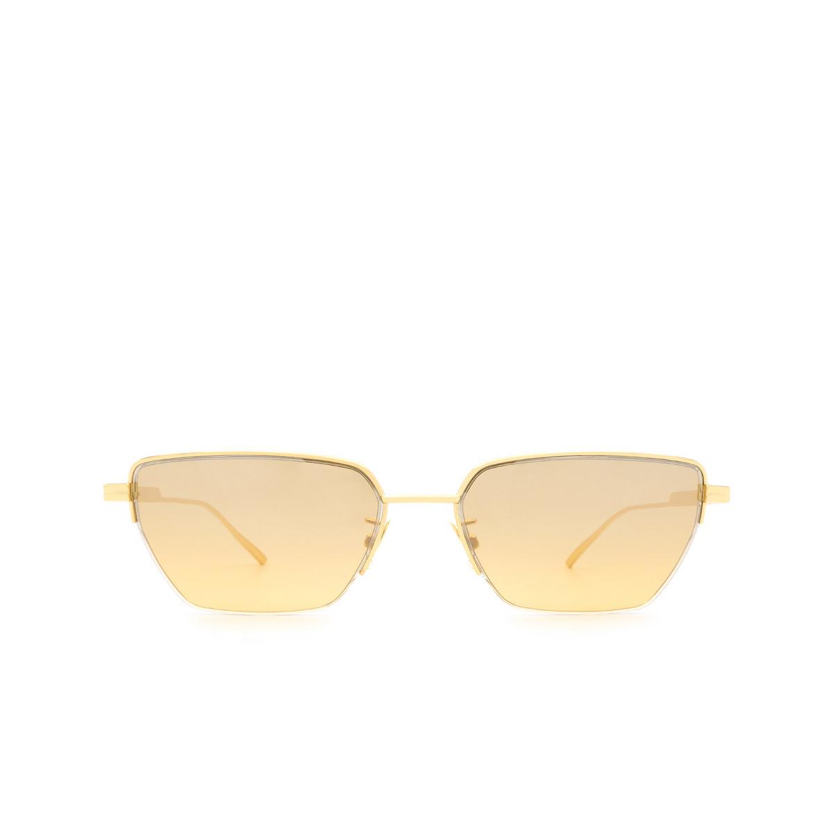 Bottega Veneta® Rectangle Sunglasses: BV1107S color Gold 002 - front view.