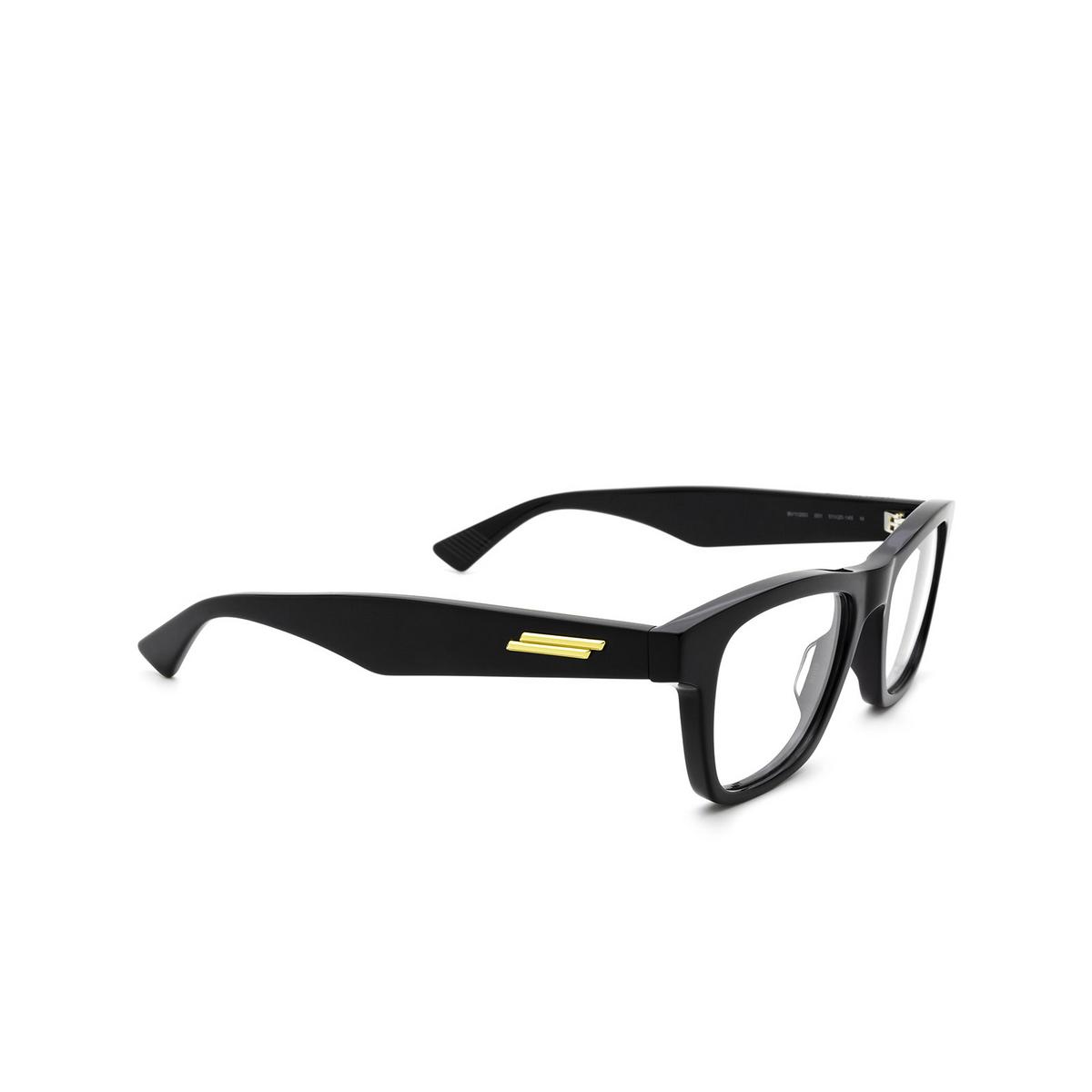 Bottega Veneta® Square Eyeglasses: BV1120O color Black 001 - three-quarters view.