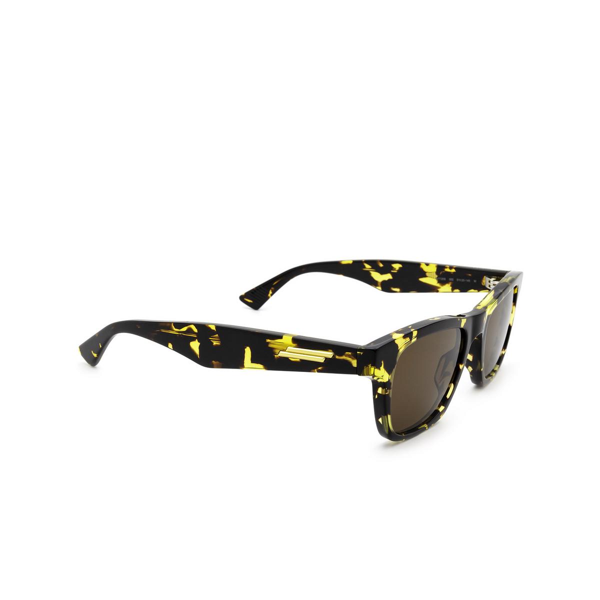 Bottega Veneta® Square Sunglasses: BV1120S color Havana 002 - three-quarters view.