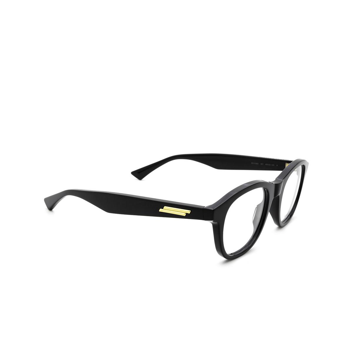 Bottega Veneta® Round Eyeglasses: BV1130O color Black 001 - three-quarters view.