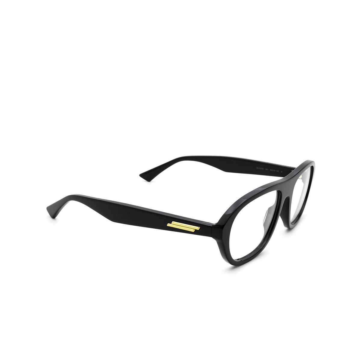 Bottega Veneta® Rectangle Eyeglasses: BV1131O color Black 001 - three-quarters view.