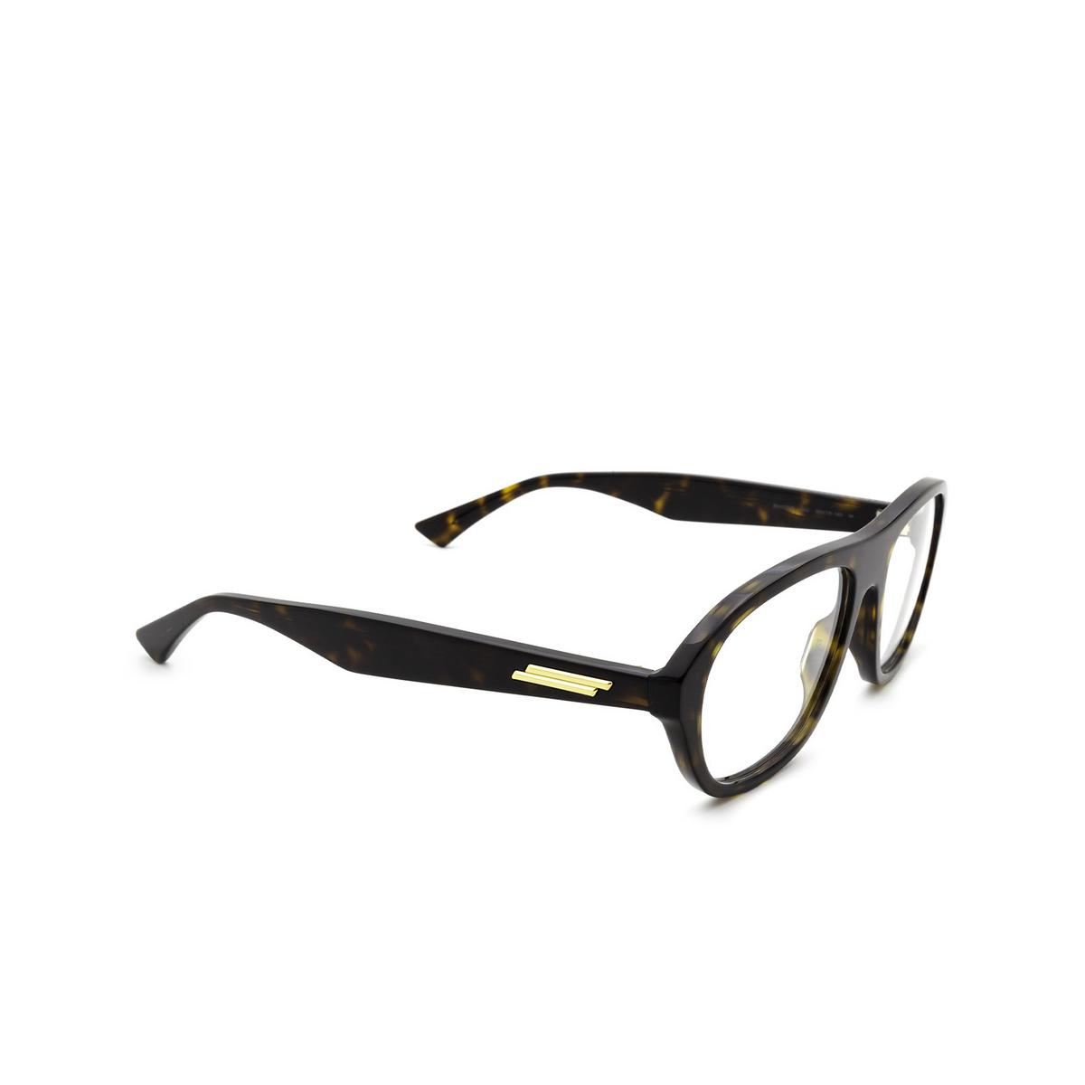 Bottega Veneta® Rectangle Eyeglasses: BV1131O color Havana 002 - three-quarters view.
