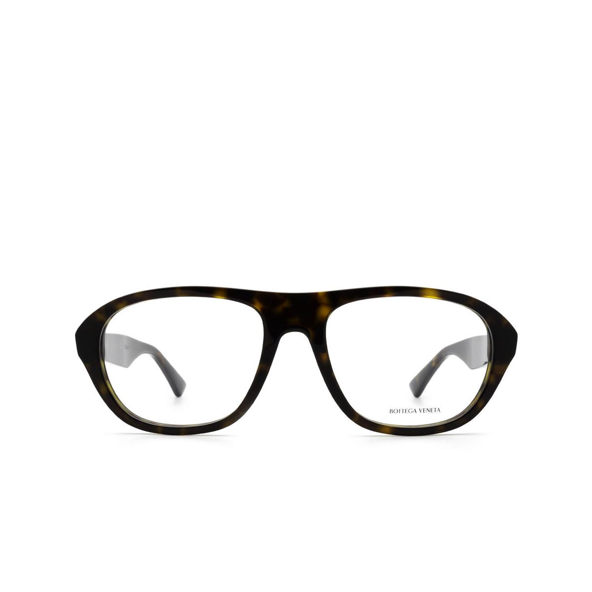 Bottega Veneta® Rectangle Eyeglasses: BV1131O color Havana 002 - front view.