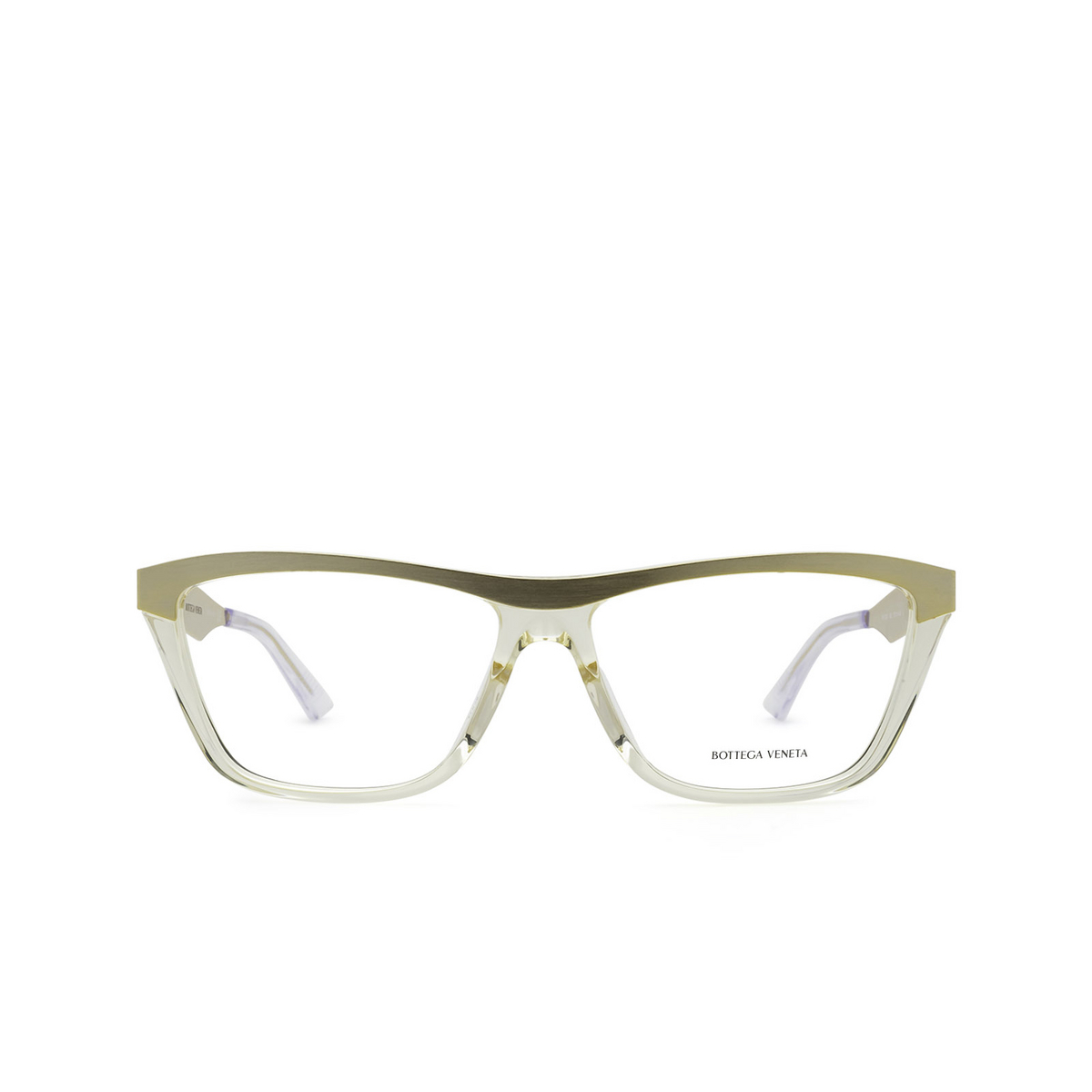 Bottega Veneta® Rectangle Eyeglasses: BV1133O color Gold & Transparent Beige 002 - front view.