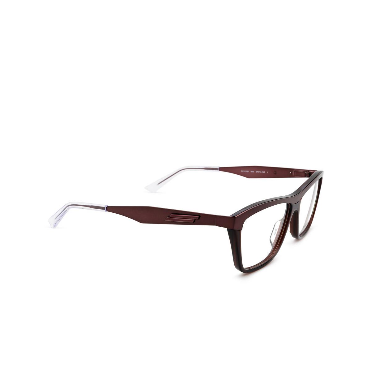 Bottega Veneta® Rectangle Eyeglasses: BV1133O color Burgundy 003 - three-quarters view.