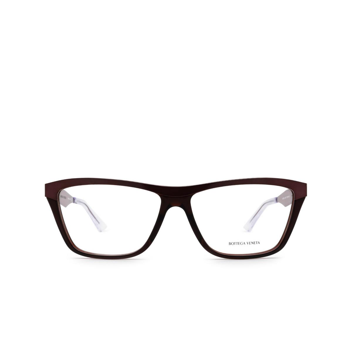 Bottega Veneta® Rectangle Eyeglasses: BV1133O color Burgundy 003 - front view.