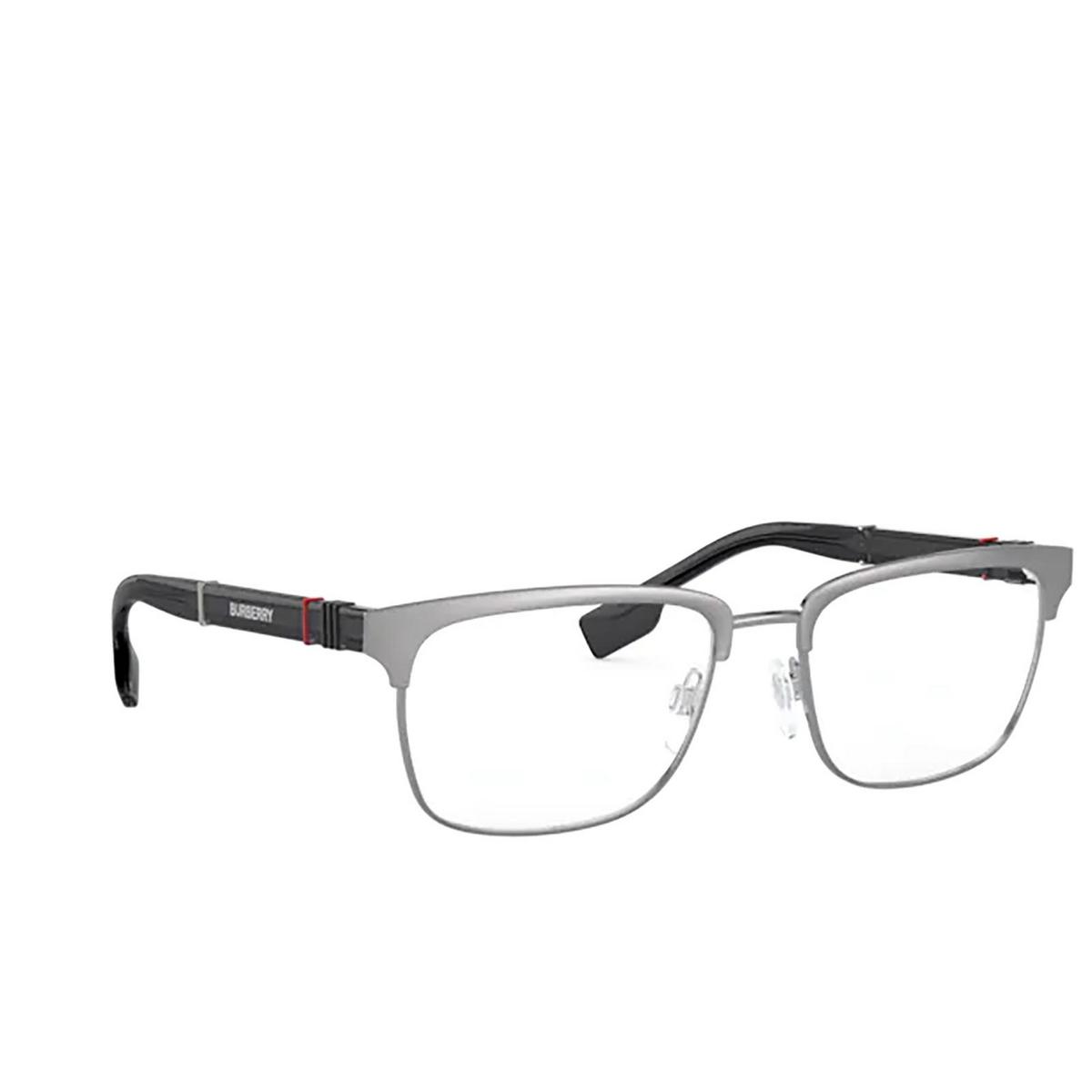 Burberry® Rectangle Eyeglasses: Alba BE1348 color Brushed Gunmetal 1008 - three-quarters view.