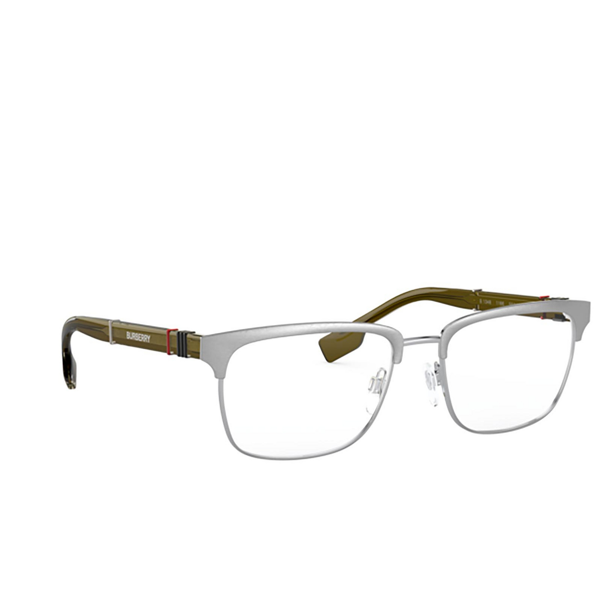 Burberry® Rectangle Eyeglasses: Alba BE1348 color Brushed Silver 1166 - three-quarters view.