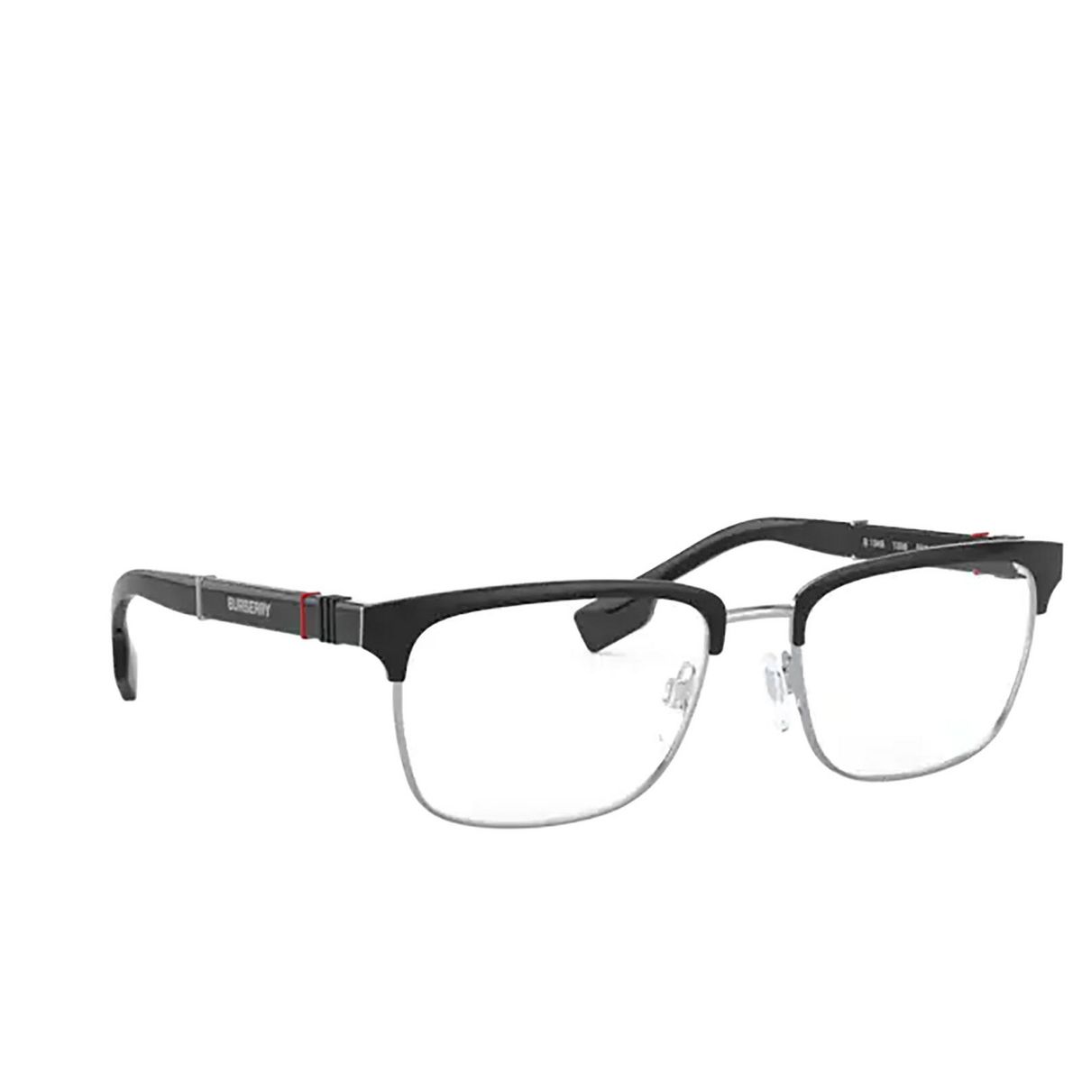 Burberry® Rectangle Eyeglasses: Alba BE1348 color Silver / Matte Black 1306 - three-quarters view.