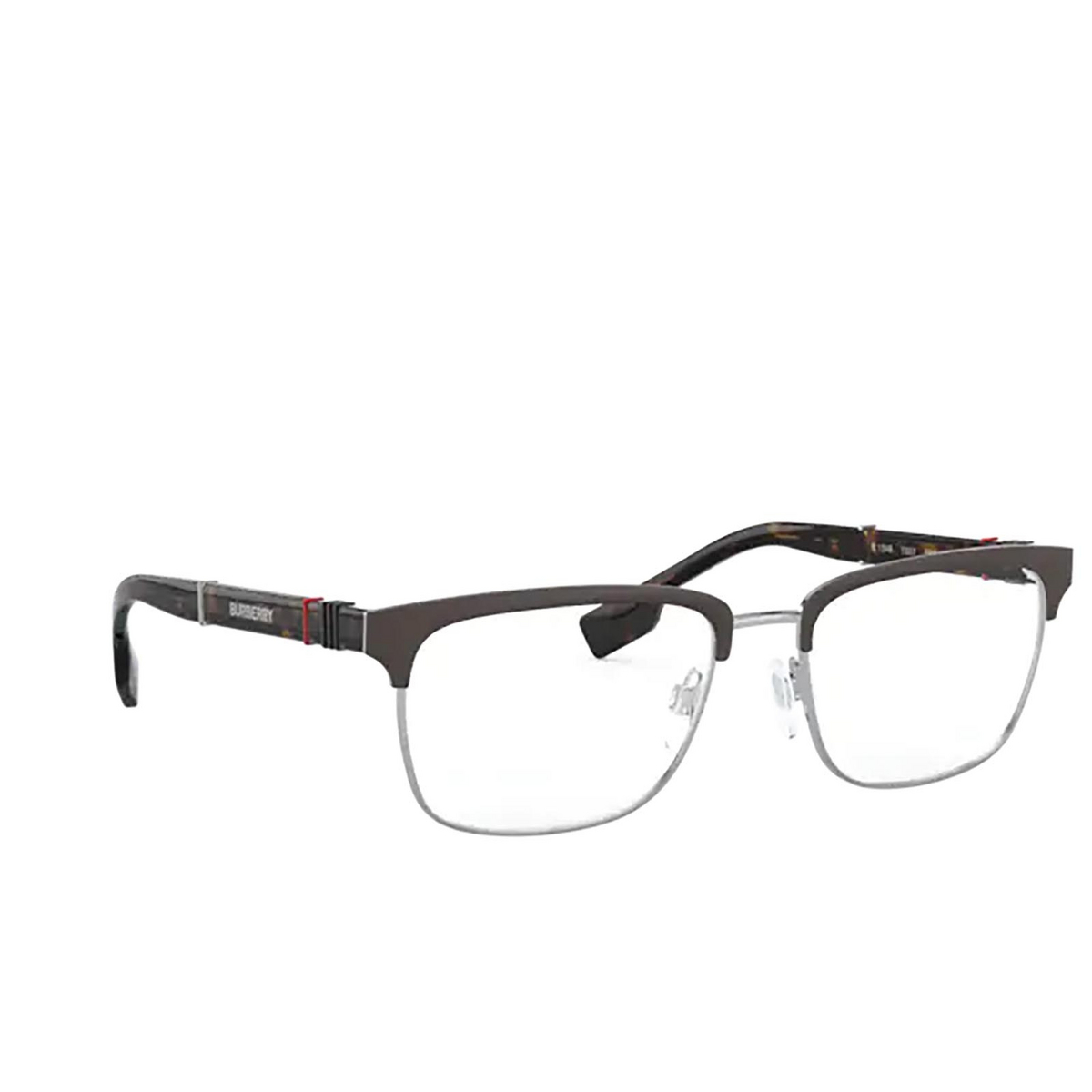 Burberry® Rectangle Eyeglasses: Alba BE1348 color Silver / Matte Brown 1307 - three-quarters view.