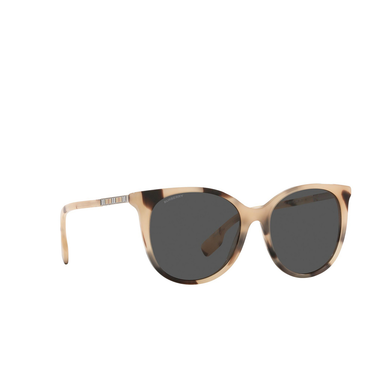 Burberry® Cat-eye Sunglasses: Alice BE4333 color Spotted Horn 350187 - three-quarters view.