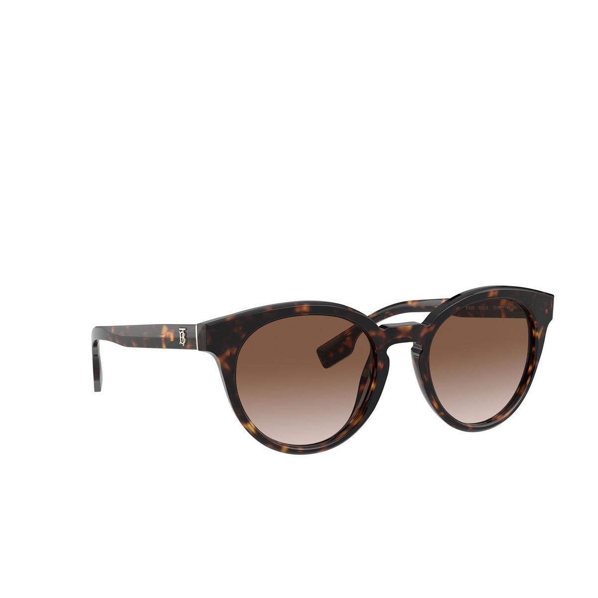 Burberry® Round Sunglasses: Amelia BE4326 color Dark Havana 300213 - three-quarters view.