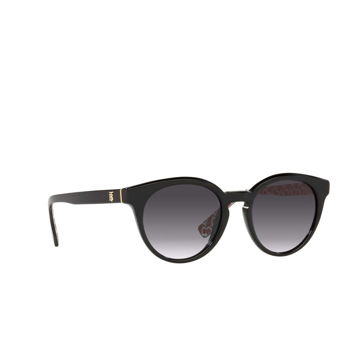 Burberry® Round Sunglasses: Amelia BE4326 color Black 38248G - three-quarters view.