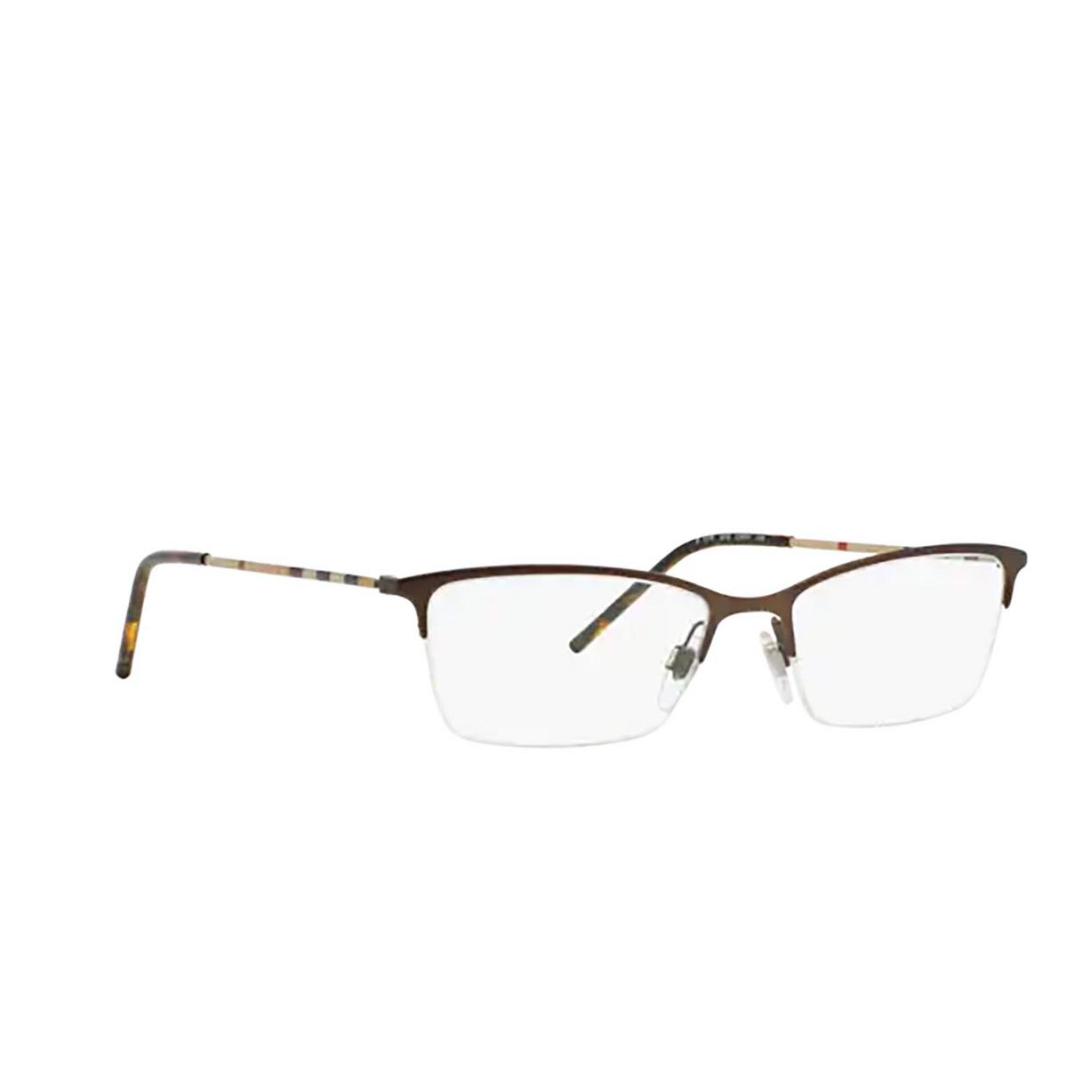 Burberry® Cat-eye Eyeglasses: BE1278 color Matte Brown 1012 - three-quarters view.