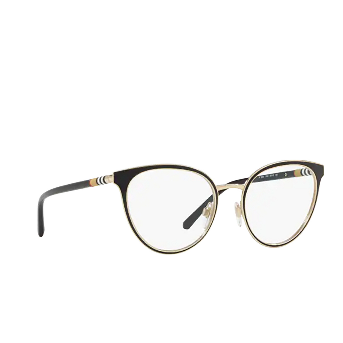 Burberry® Cat-eye Eyeglasses: BE1324 color Black / Light Gold 1262 - three-quarters view.