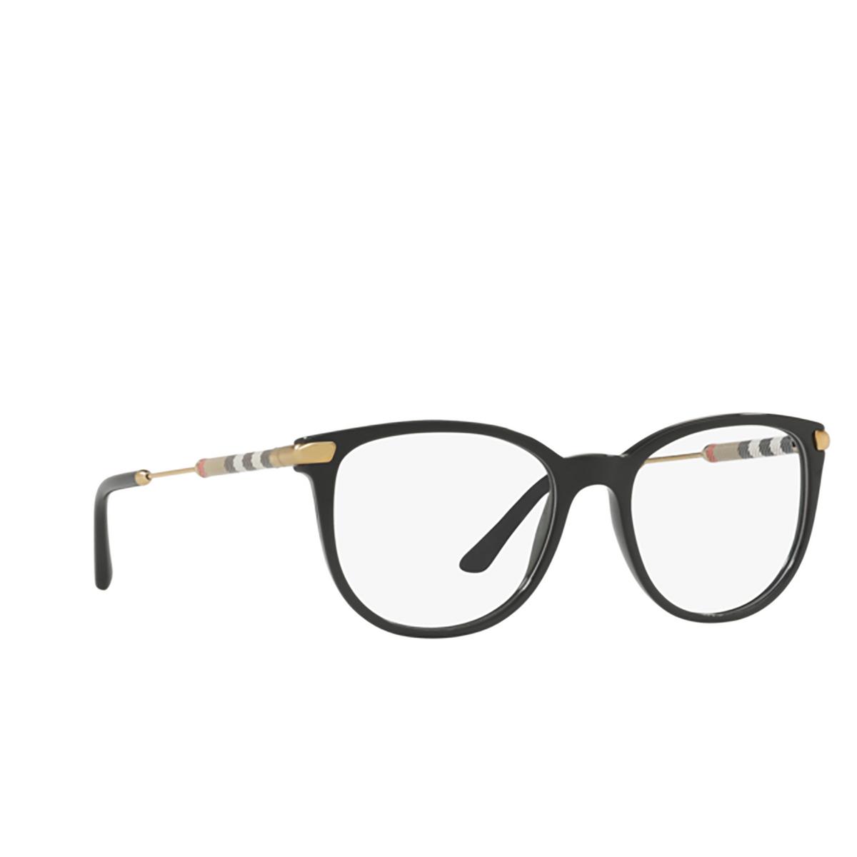Burberry® Square Eyeglasses: BE2255Q color Black 3001 - three-quarters view.