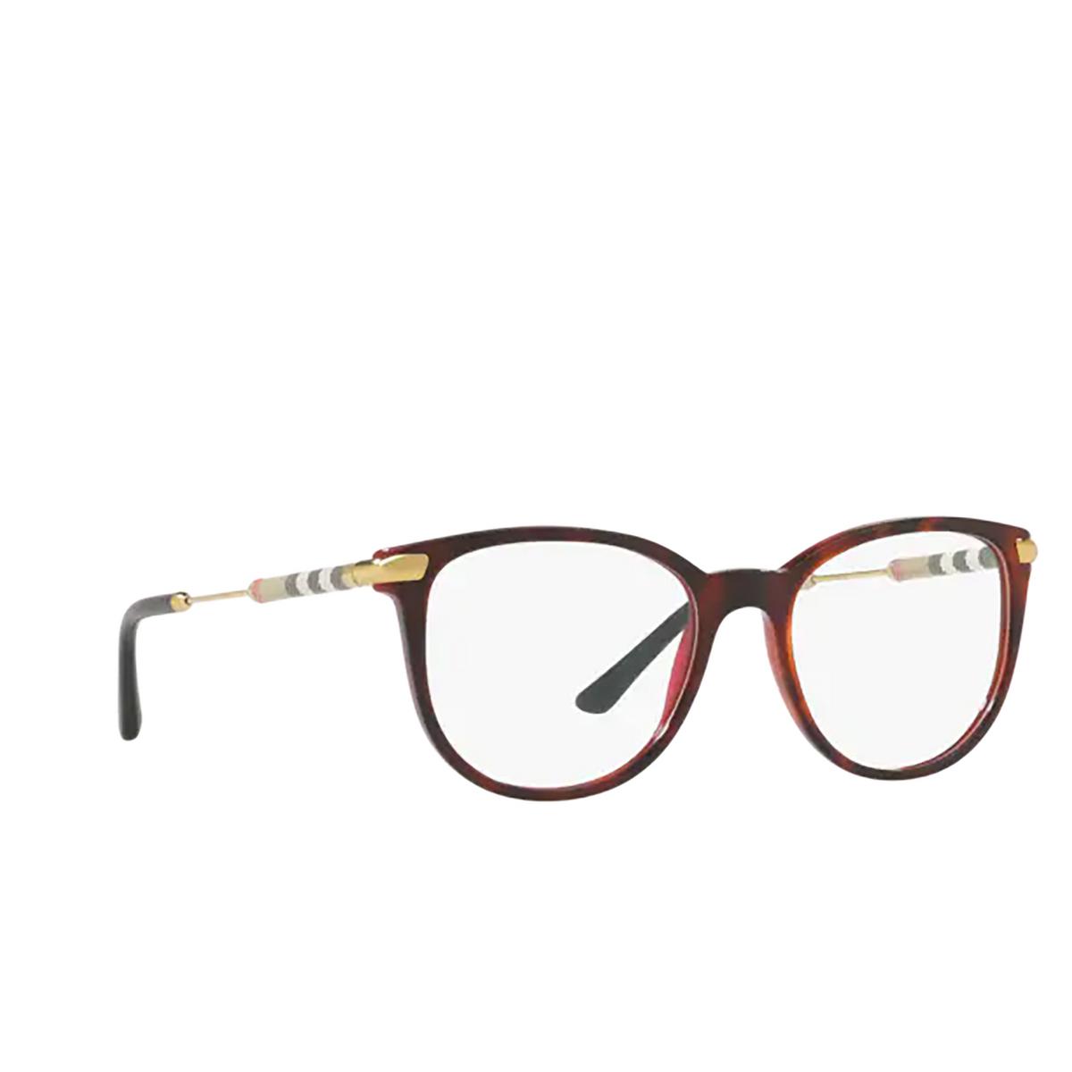 Burberry® Square Eyeglasses: BE2255Q color Top Havana On Bordeaux 3657 - three-quarters view.