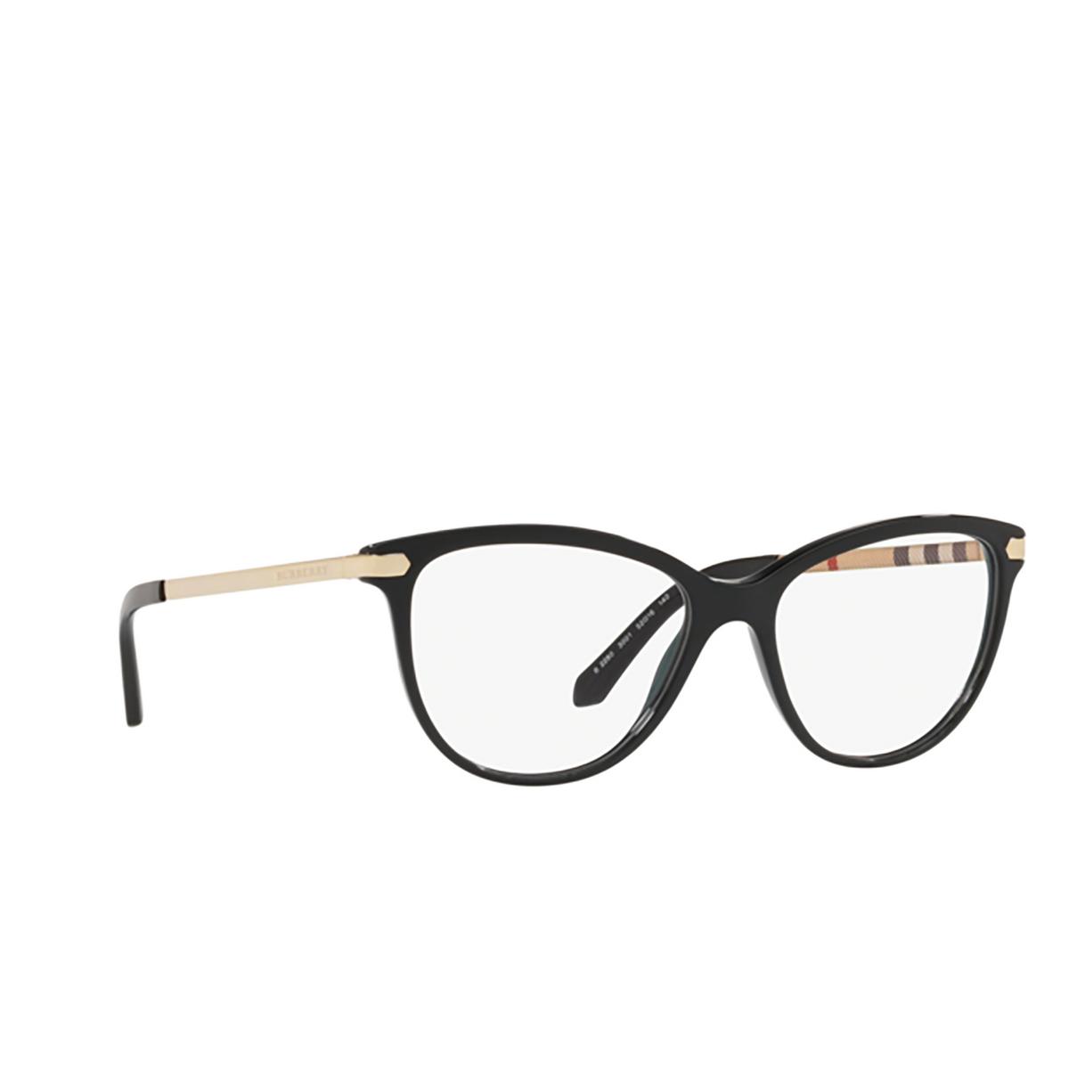 Burberry® Cat-eye Eyeglasses: BE2280 color Black 3001 - three-quarters view.