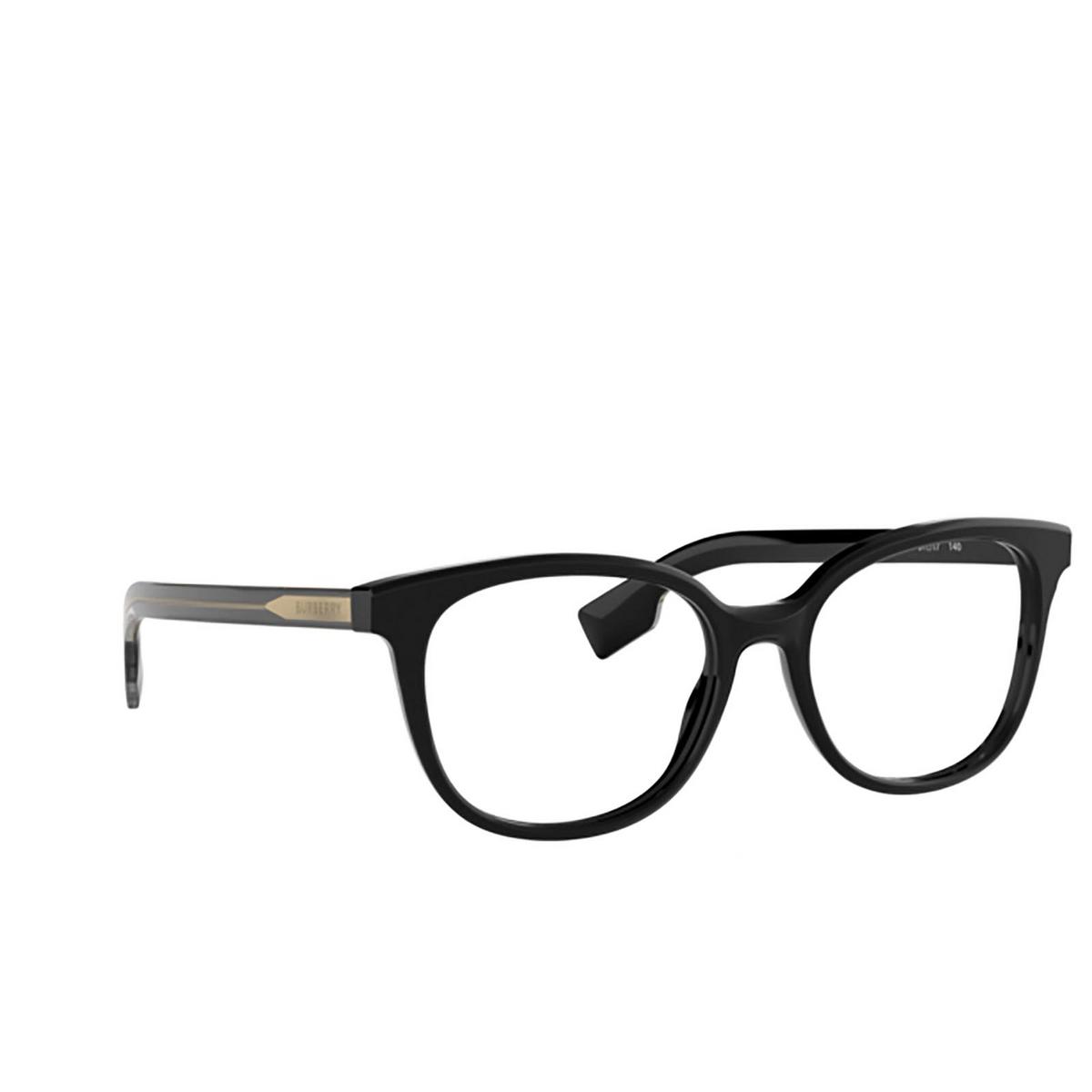 Burberry® Square Eyeglasses: BE2291 color Black 3758 - three-quarters view.