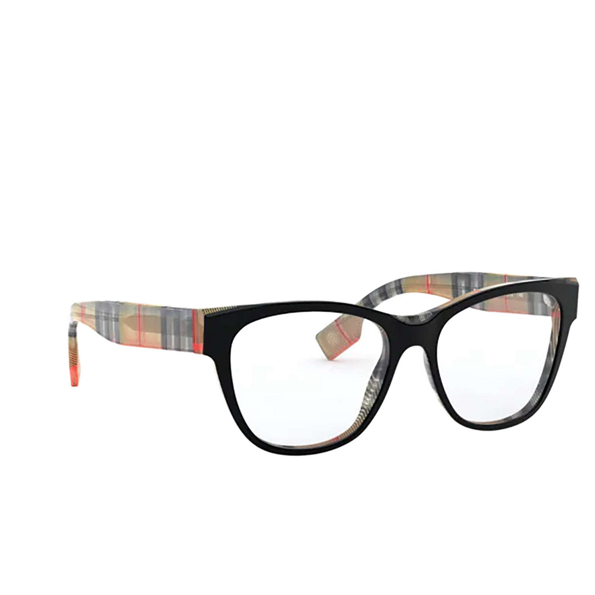 Burberry® Square Eyeglasses: BE2301 color Top Black On Vintage Check 3806 - three-quarters view.