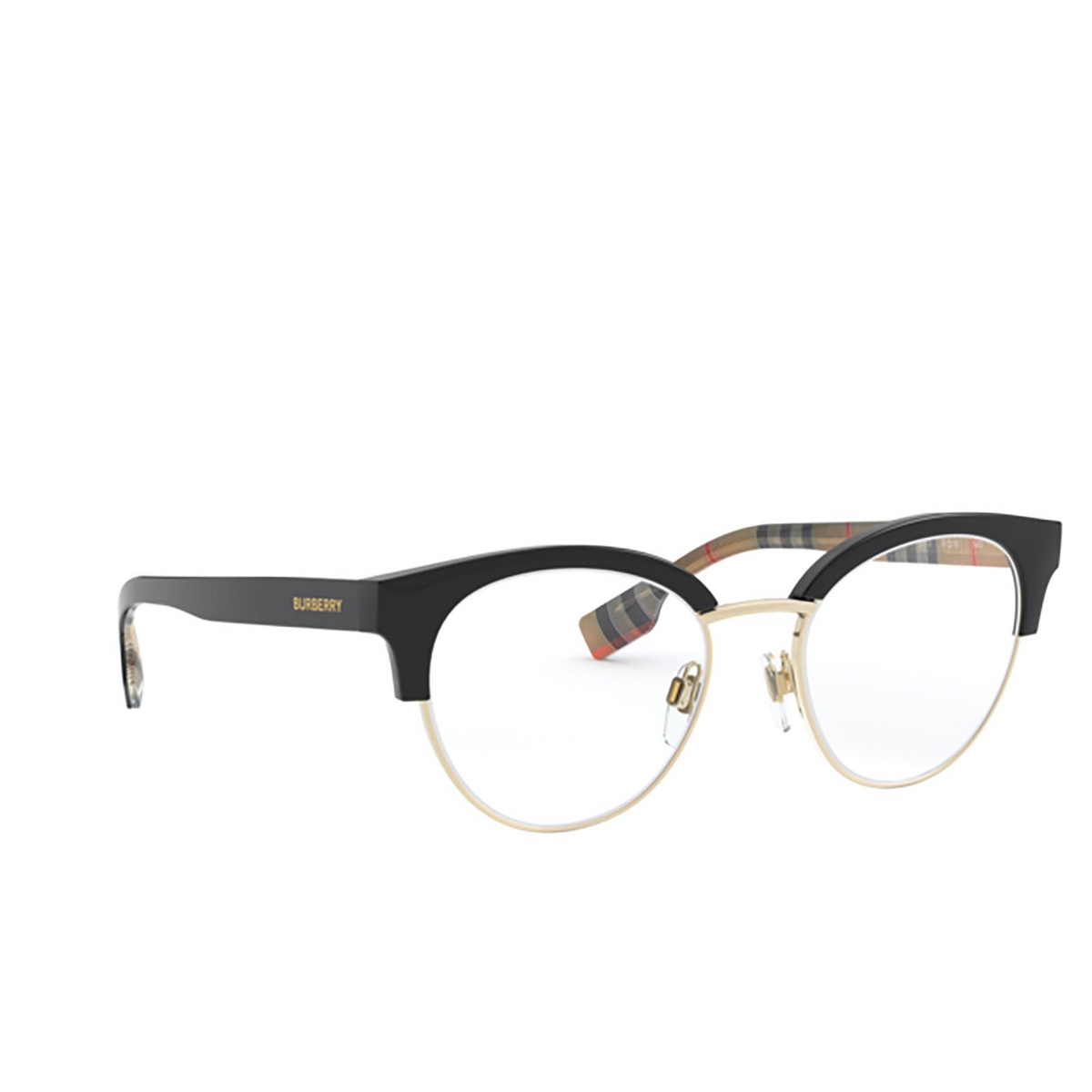 Burberry® Round Eyeglasses: Birch BE2316 color Black / Pale Gold 3773 - three-quarters view.