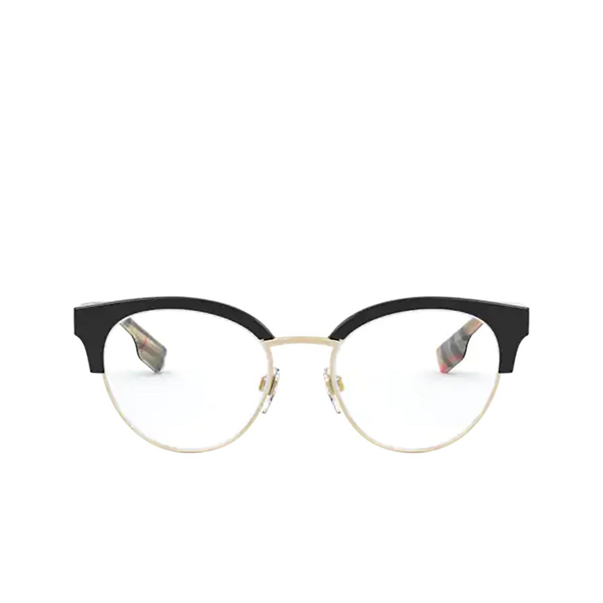 Burberry® Round Eyeglasses: Birch BE2316 color Black / Pale Gold 3773 - front view.