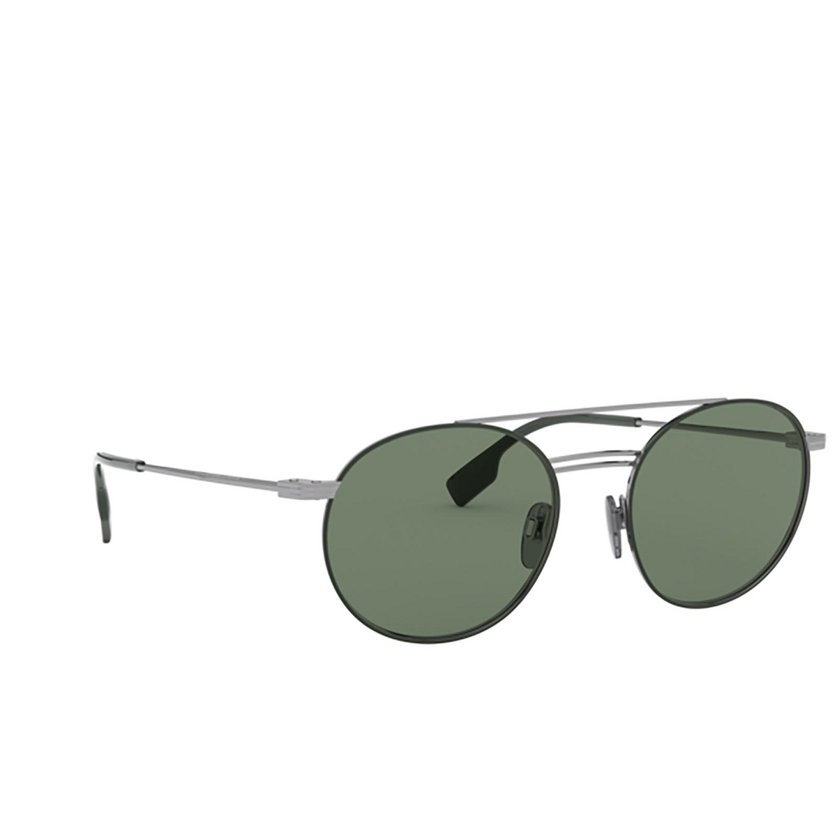 Burberry® Round Sunglasses: BE3109 color Gunmetal / Matte Green 100371 - three-quarters view.