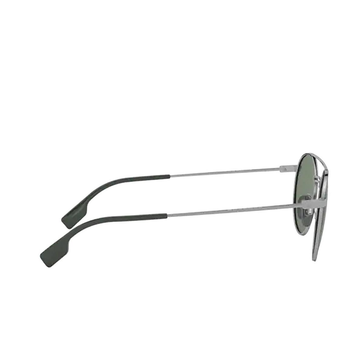 Burberry® Round Sunglasses: BE3109 color Gunmetal / Matte Green 100371 - 3/3.