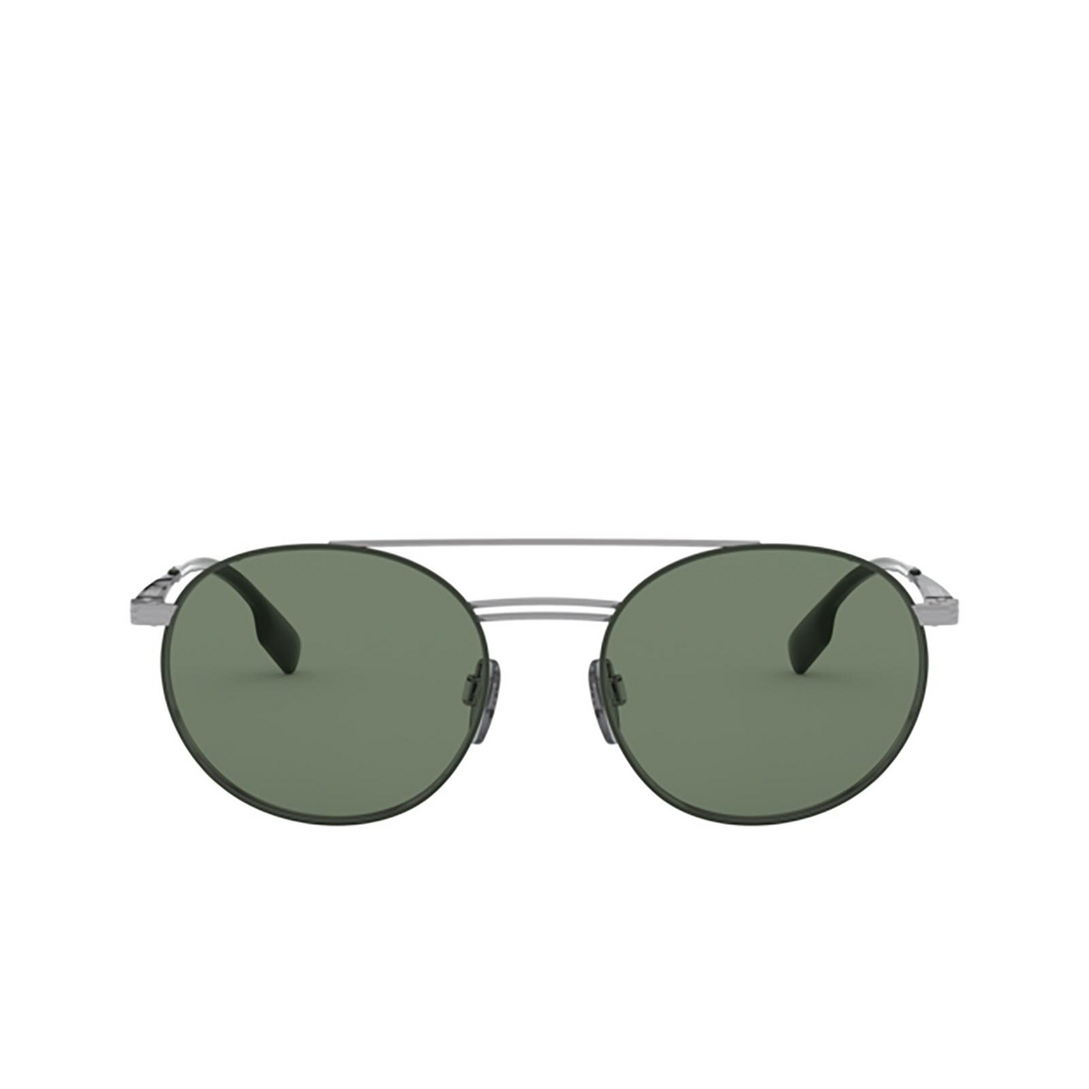 Burberry® Round Sunglasses: BE3109 color Gunmetal / Matte Green 100371 - front view.