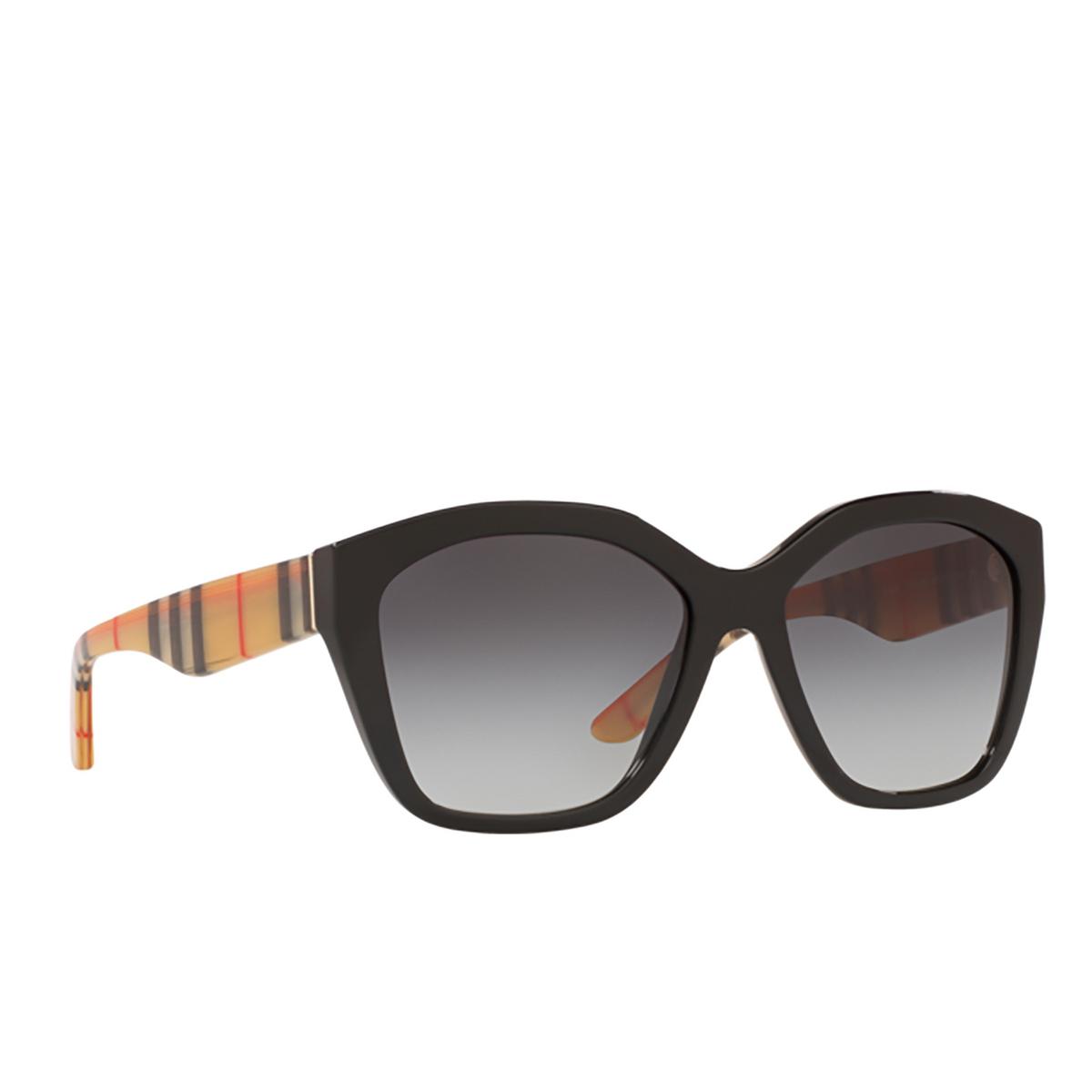 Burberry® Irregular Sunglasses: BE4261 color Black 37578G - three-quarters view.