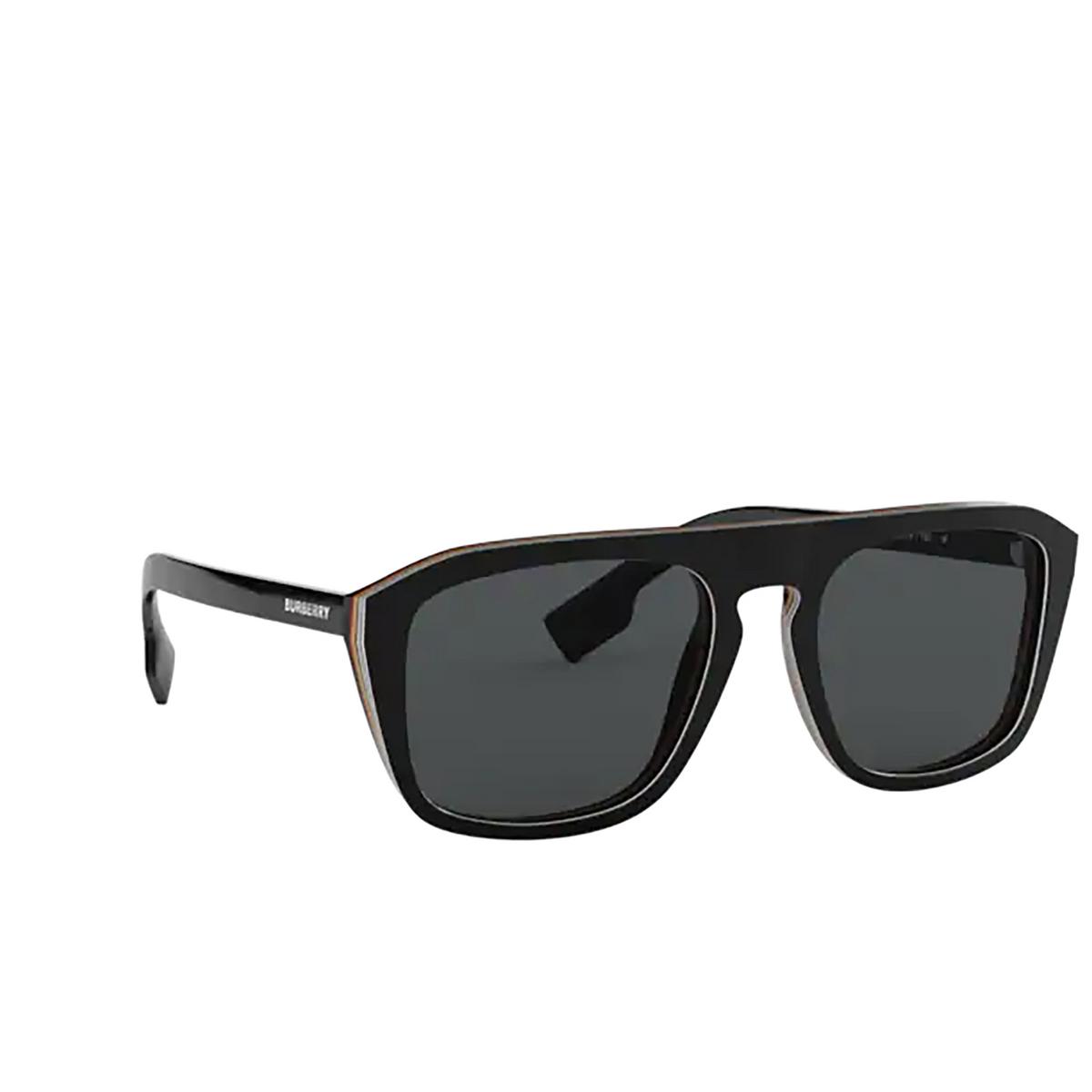 Burberry® Square Sunglasses: BE4286 color Check Multilayer Black 379881 - three-quarters view.