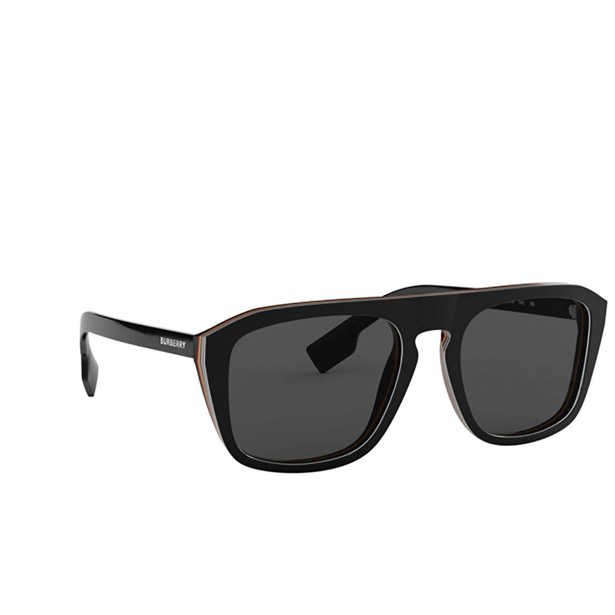 Burberry® Square Sunglasses: BE4286 color Check Multilayer Black 379887 - three-quarters view.