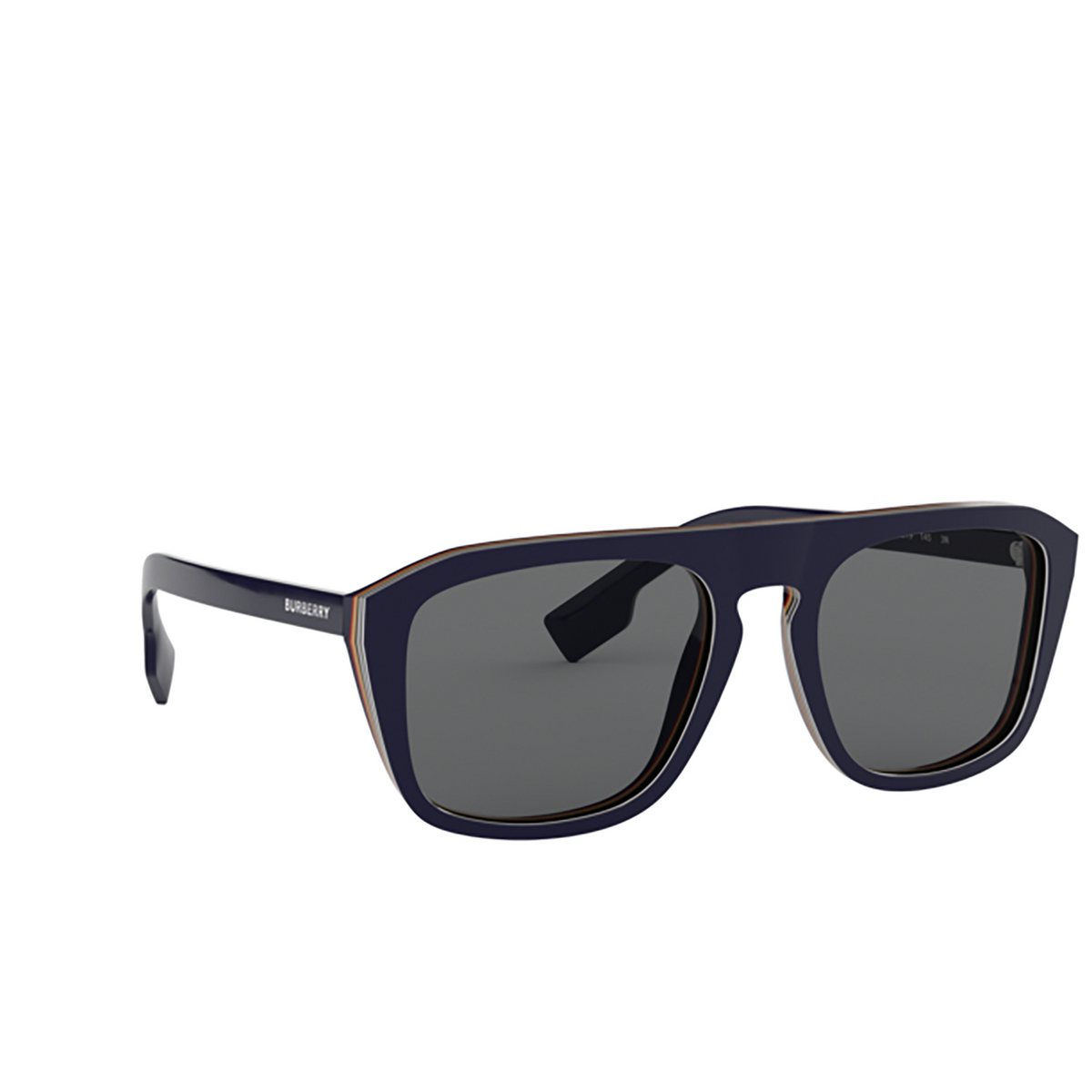 Burberry® Square Sunglasses: BE4286 color Check Multilayer Blue 379987 - three-quarters view.