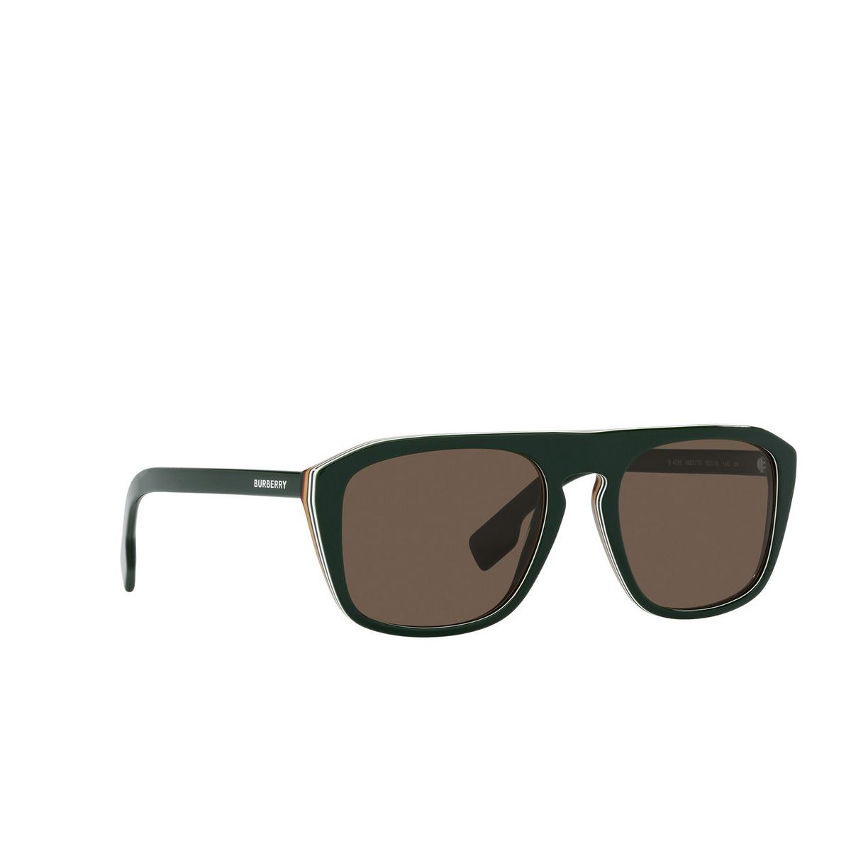 Burberry® Square Sunglasses: BE4286 color Green 392773 - three-quarters view.