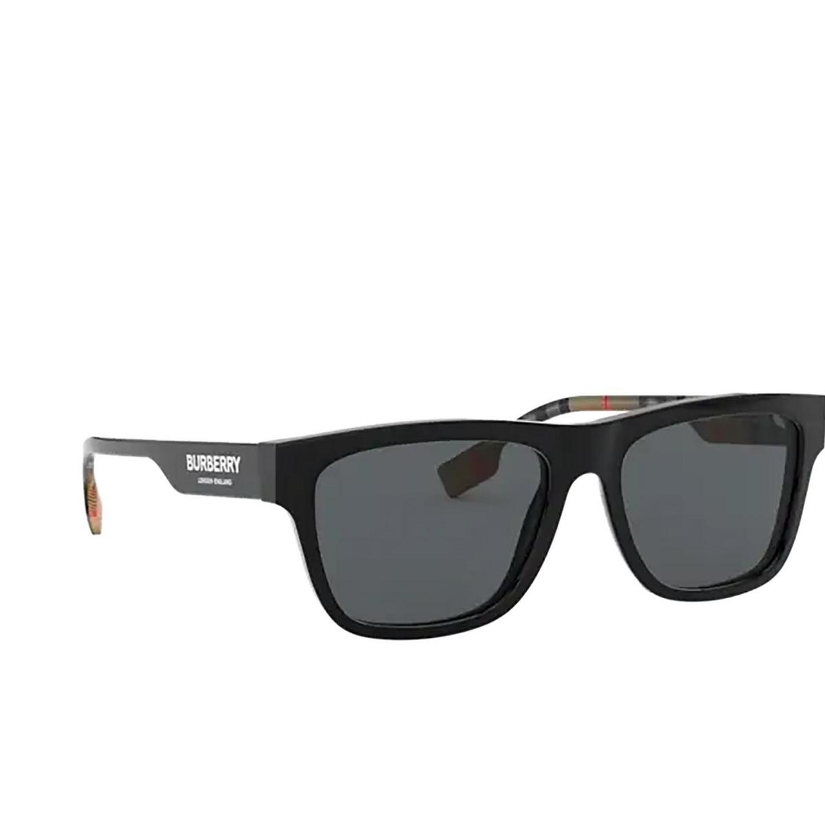 Burberry® Square Sunglasses: BE4293 color Black 377381 - three-quarters view.