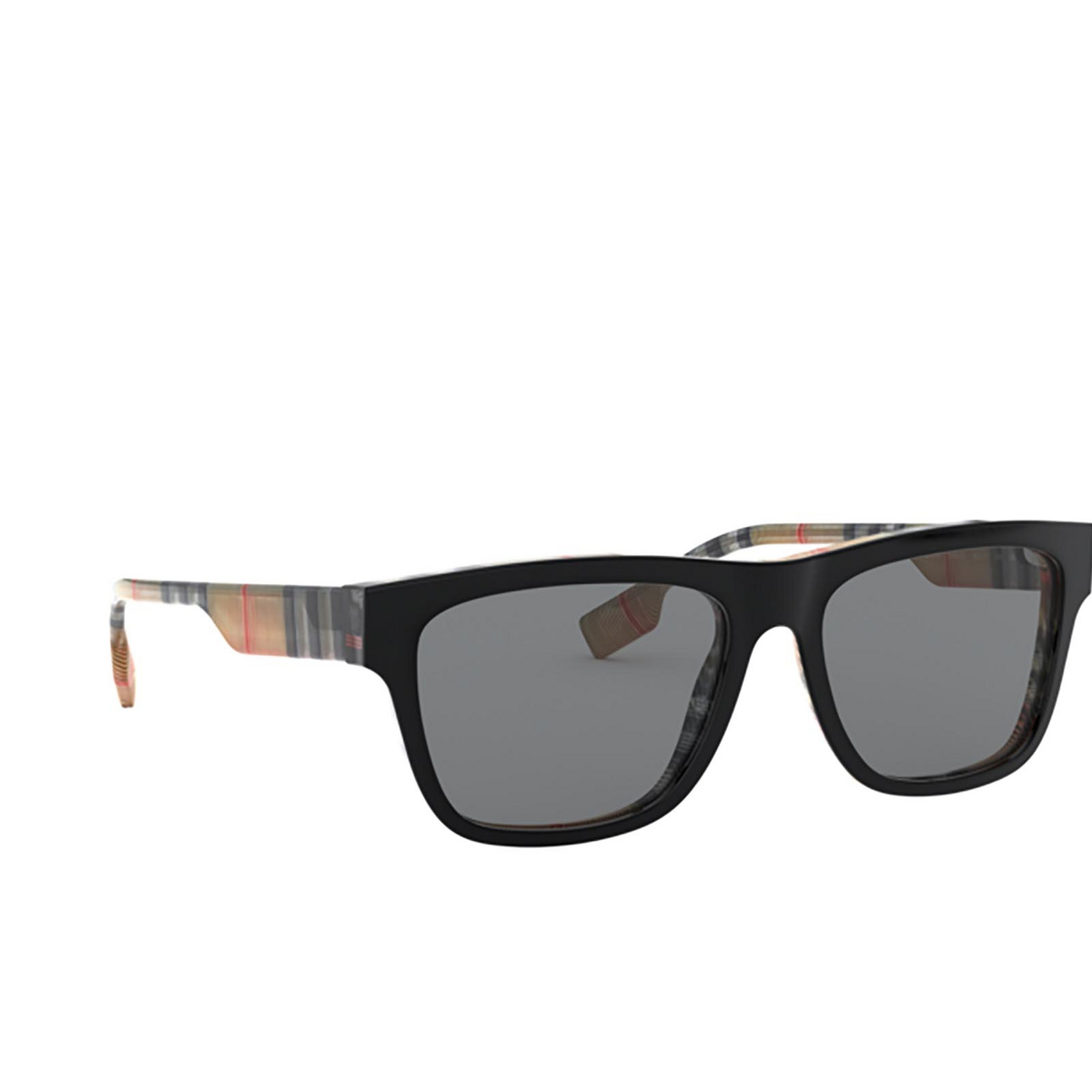 Burberry® Square Sunglasses: BE4293 color Top Black On Vintage Check 380687 - three-quarters view.